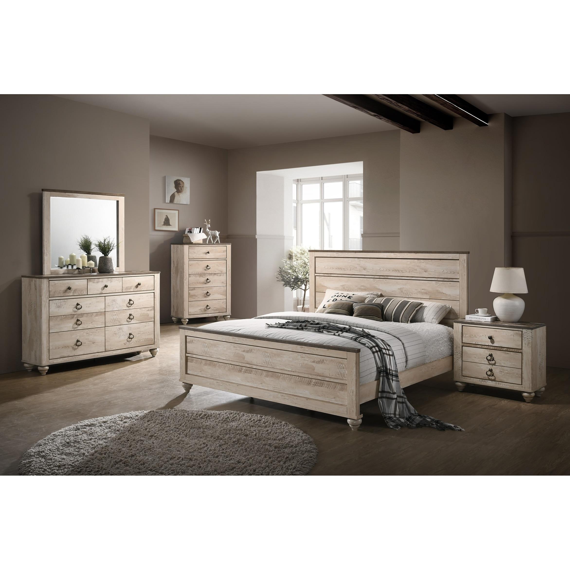 Imerland contemporary white wash finish 5 piece bedroom set king