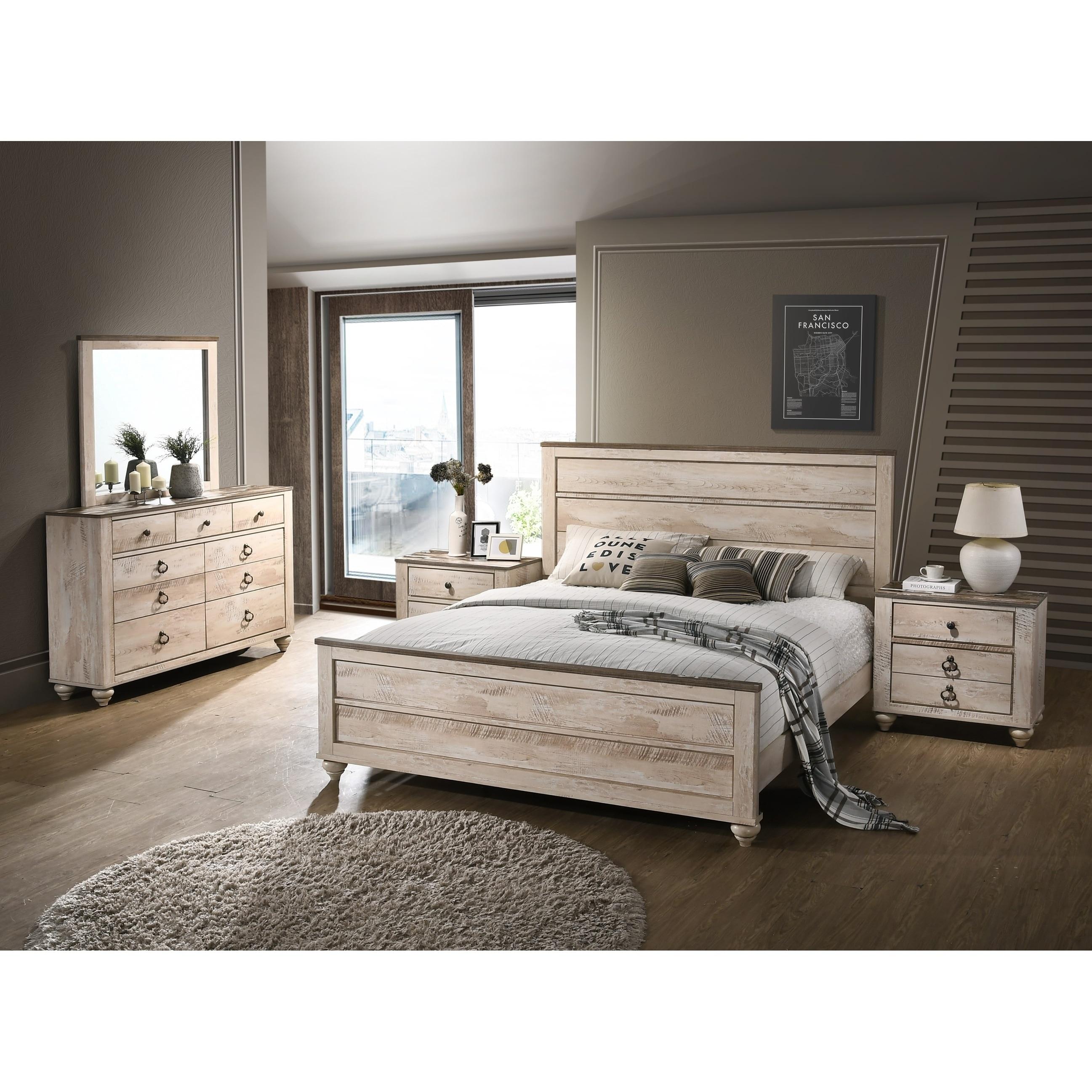 Shop Imerland Contemporary White Wash Finish 5-Piece Bedroom Set ...