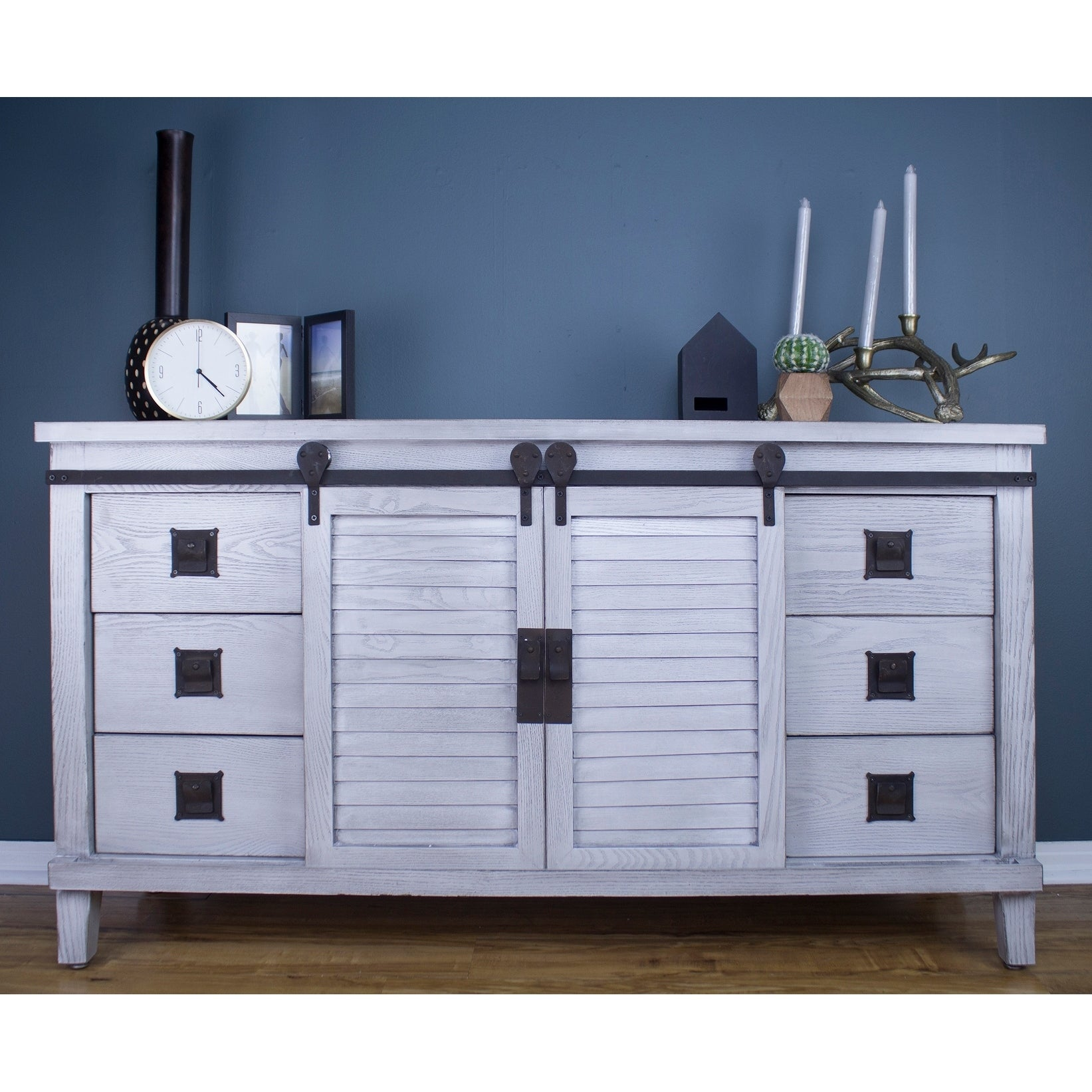 Shop Southport Grey Farmhouse Barndoor Wood and Metal Buffet Cabinet ...