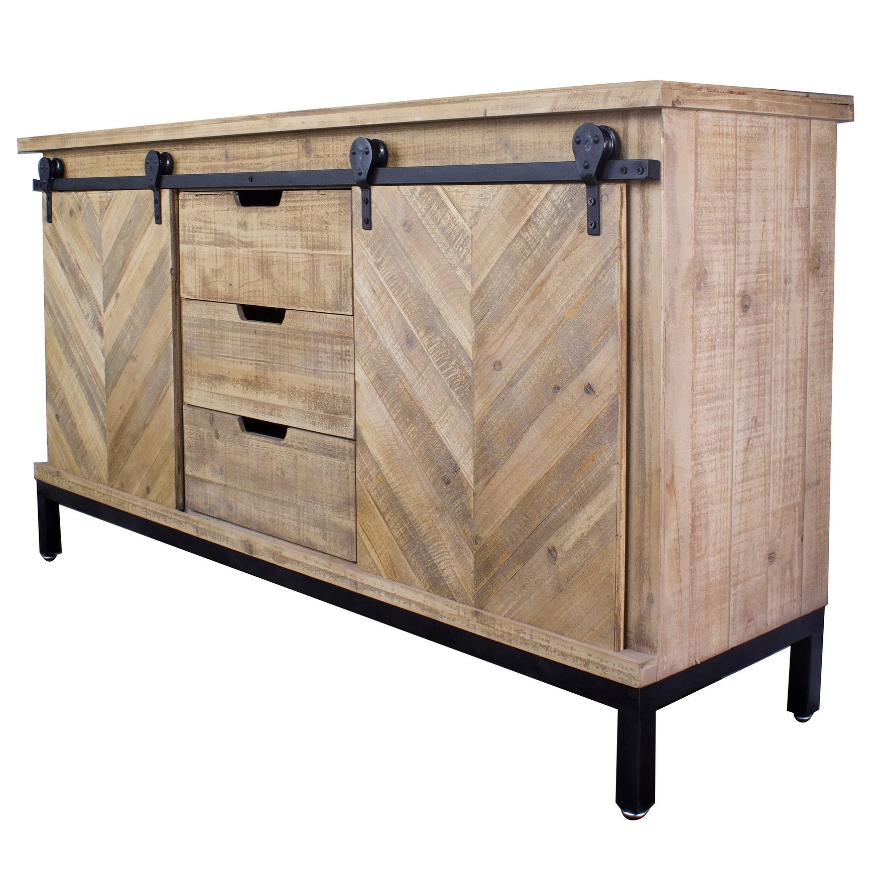 Charmant Shop Knightsbridge Barndoor Mid Century Wood And Metal Buffet Cabinet    Free Shipping Today   Overstock.com   19759055