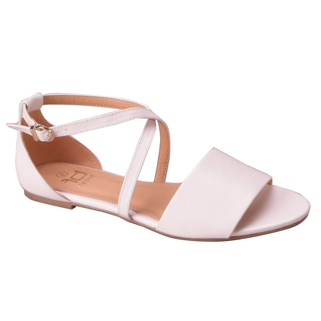 d6f962c21a12 Shop BETANI Women s Peep Toe Criss-Cross Ankle Buckle Strap Flat Sandals -  Free Shipping On Orders Over  45 - Overstock - 19760536