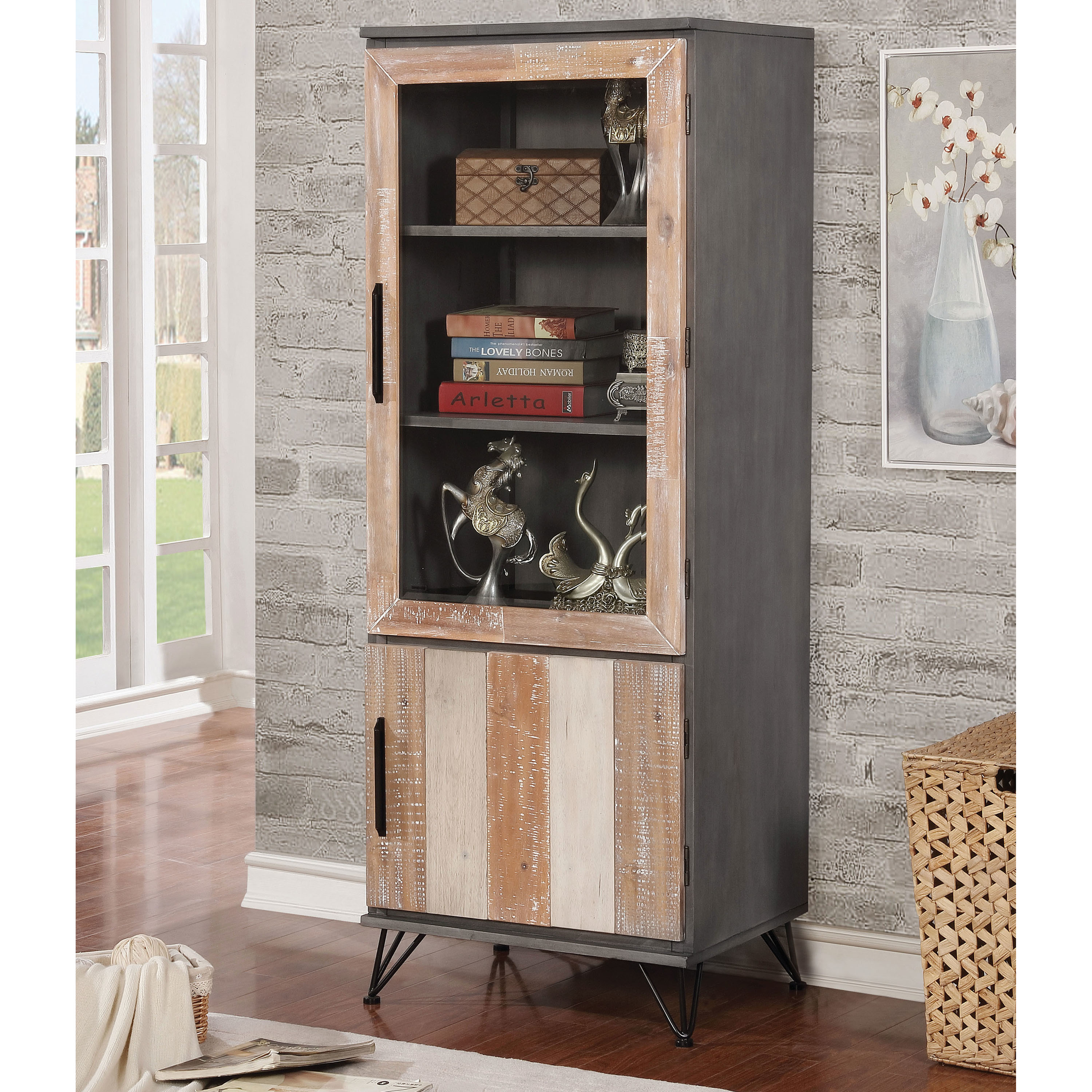 Exceptional Furniture Of America Freddie Contemporary Sawblade Style 2 Door Pier  Cabinet   Free Shipping Today   Overstock   25701529