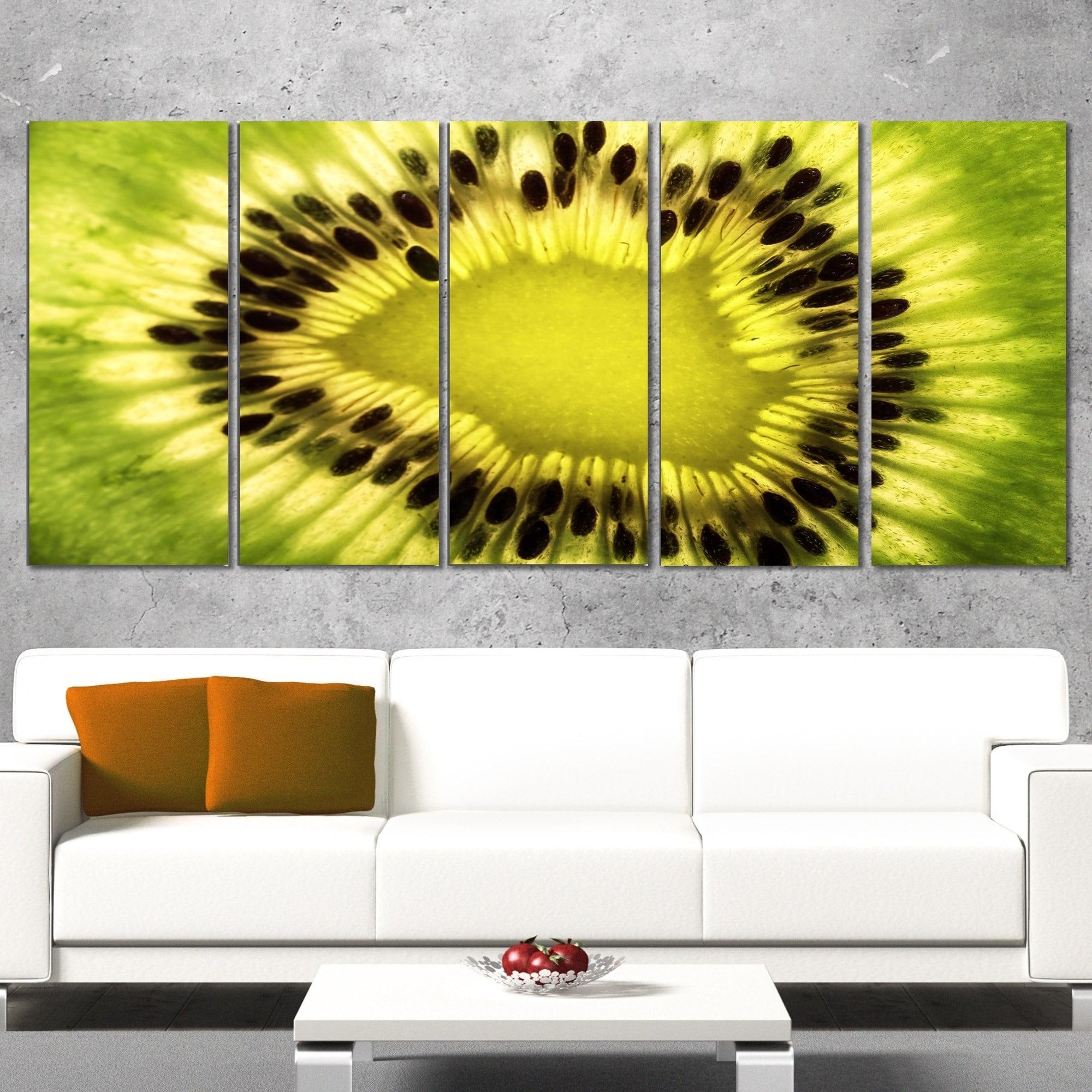 Shop Designart \'Green Kiwi Seeds and Inside Pattern\' Modern Canvas ...