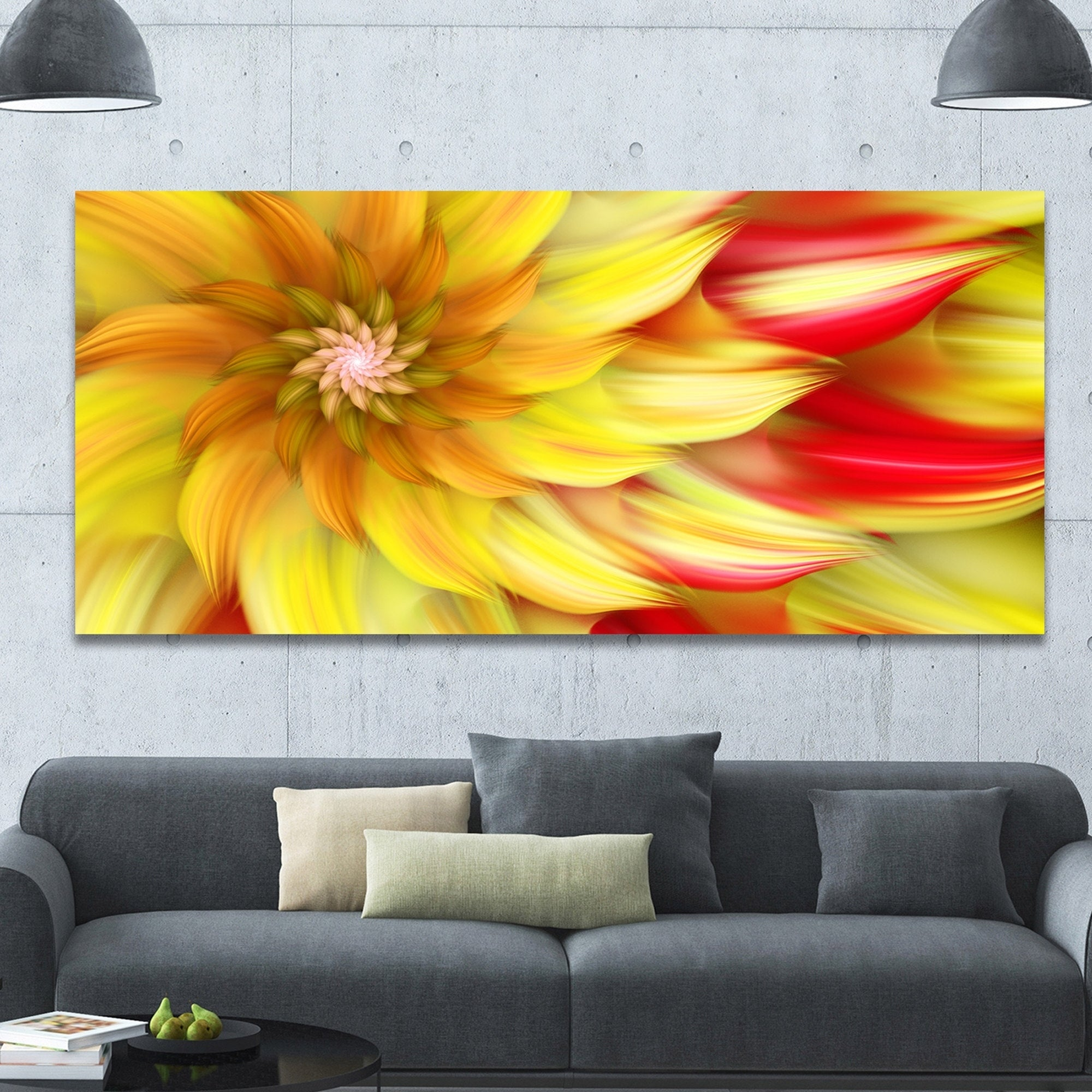 Designart \'Rotating Yellow Red Fractal Flower\' Extra Large Floral ...