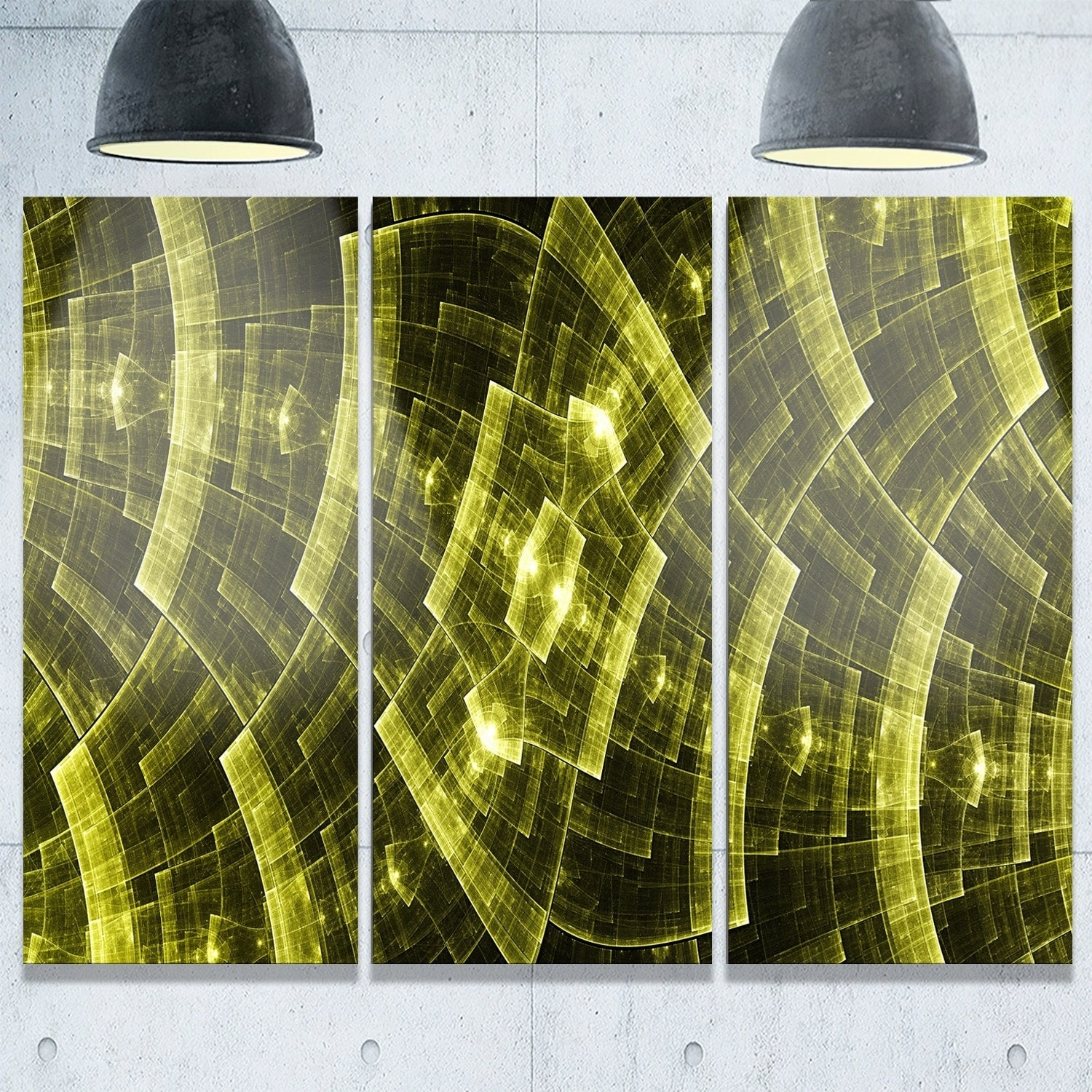 Bright Yellow Fractal Flower Grid - Abstract Glossy Metal Wall Art ...