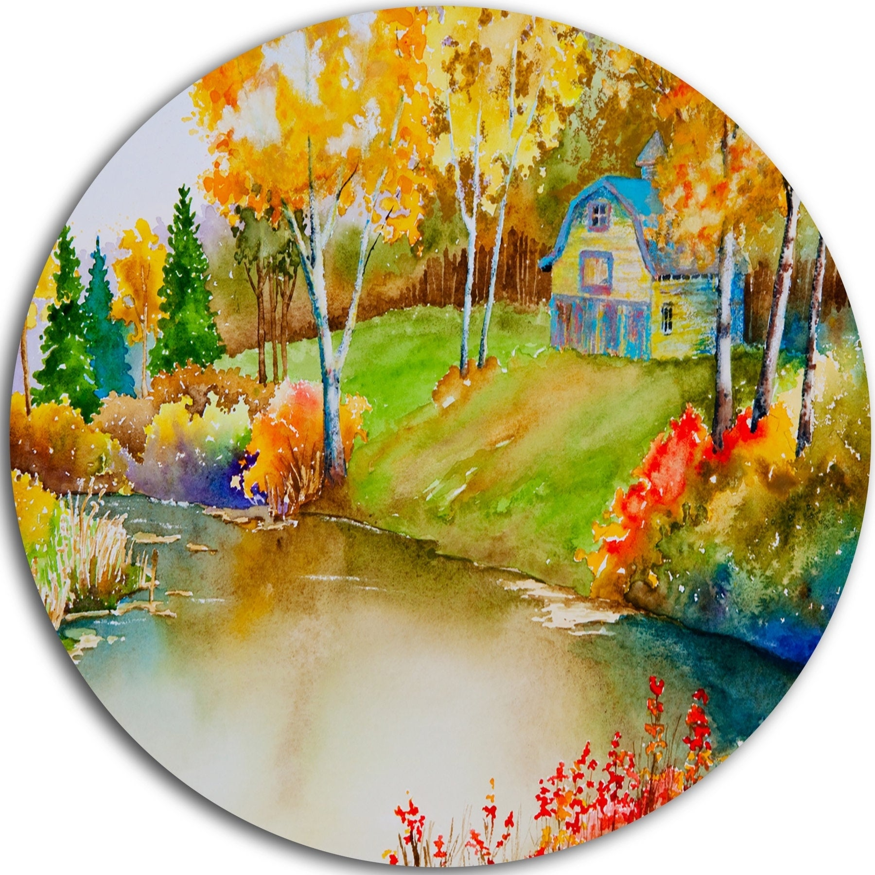 Designart \'House and Quiet Pond in Fall\' Landscape Glossy Metal Wall ...