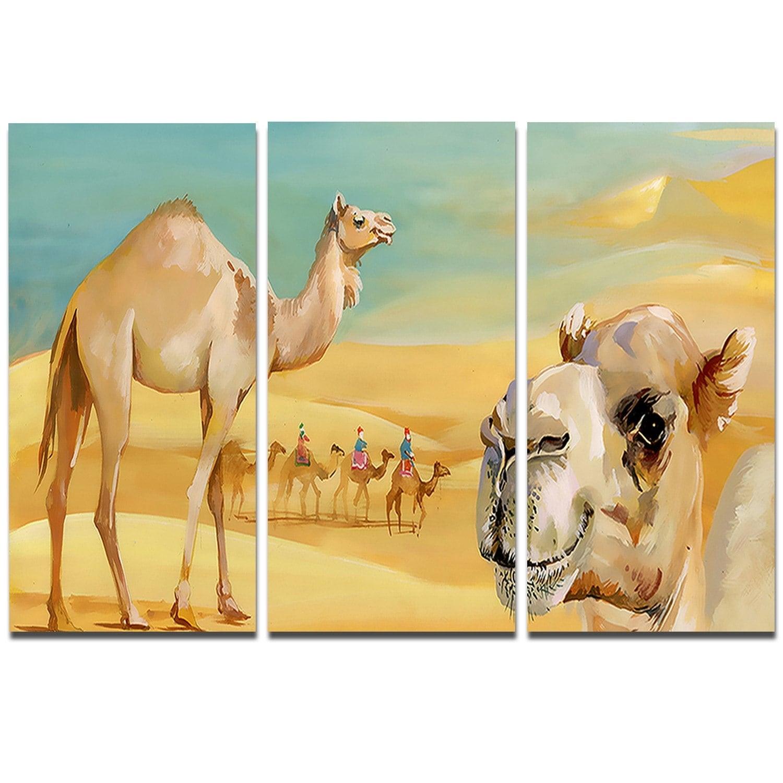 Shop Designart \'Wandering Camels in Desert\' Watercolor Animal Metal ...