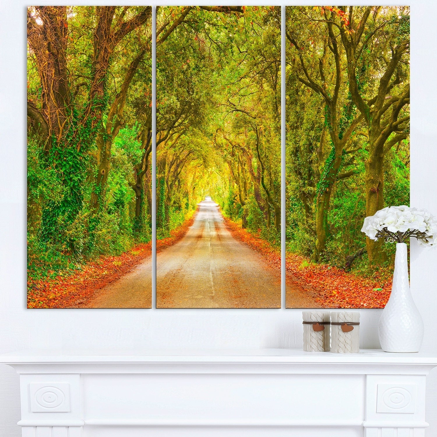 Shop Fall Greenery and Road Straight Ahead - Oversized Forest Glossy ...