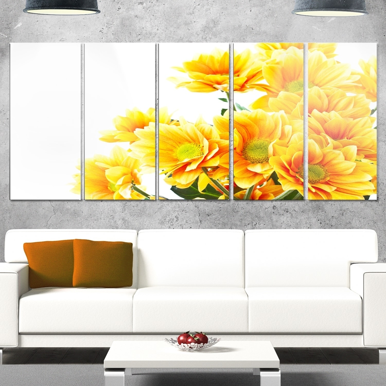 Shop Designart \'Orange Flowers Chrysanthemum\' Modern Flower Canvas ...