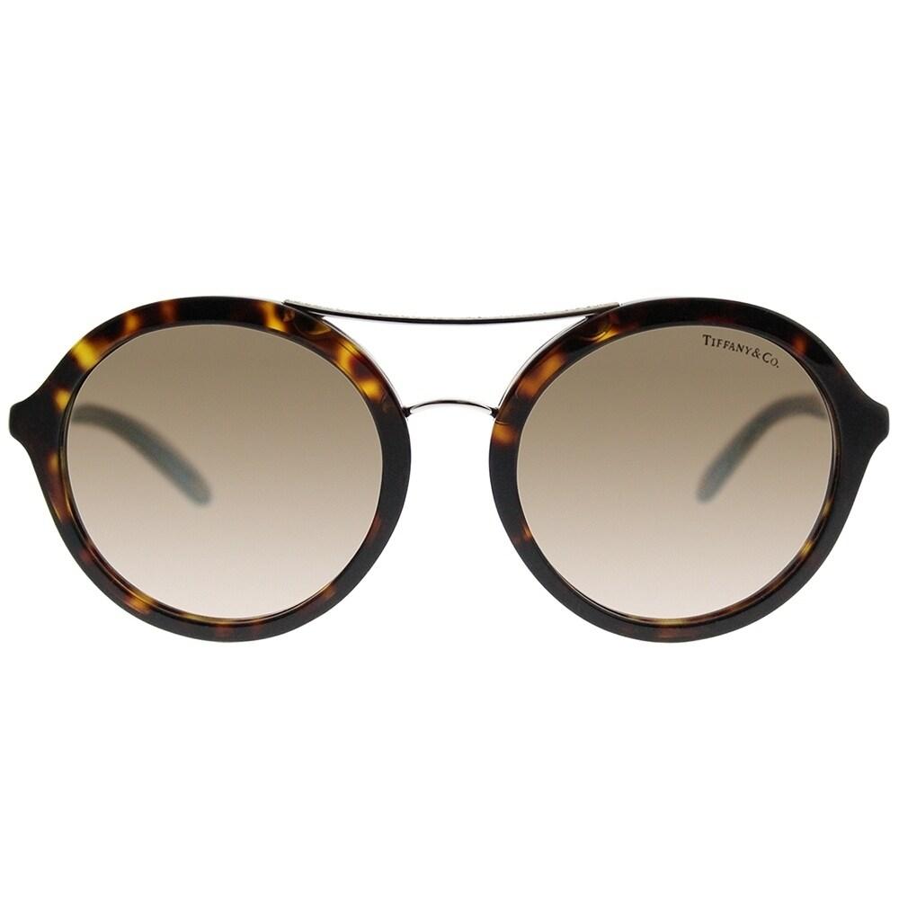 2ab8a889c9f Shop Tiffany   Co. Round TF 4136B 80153B Women Dark Havana Frame Brown  Gradient Lens Sunglasses - Free Shipping Today - Overstock - 19781037