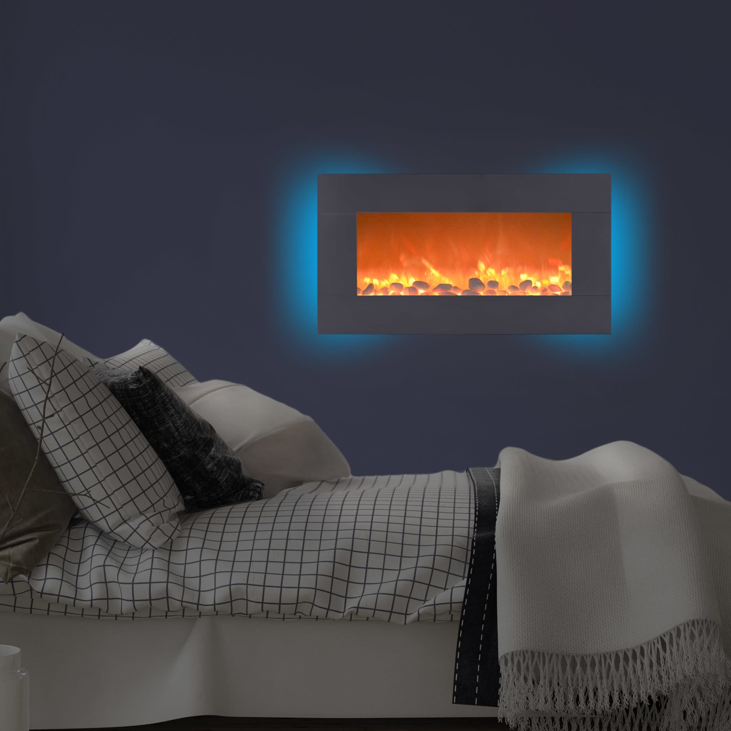 Shop Electric Fireplace- Wall Mounted 13 Backlight Colors ...
