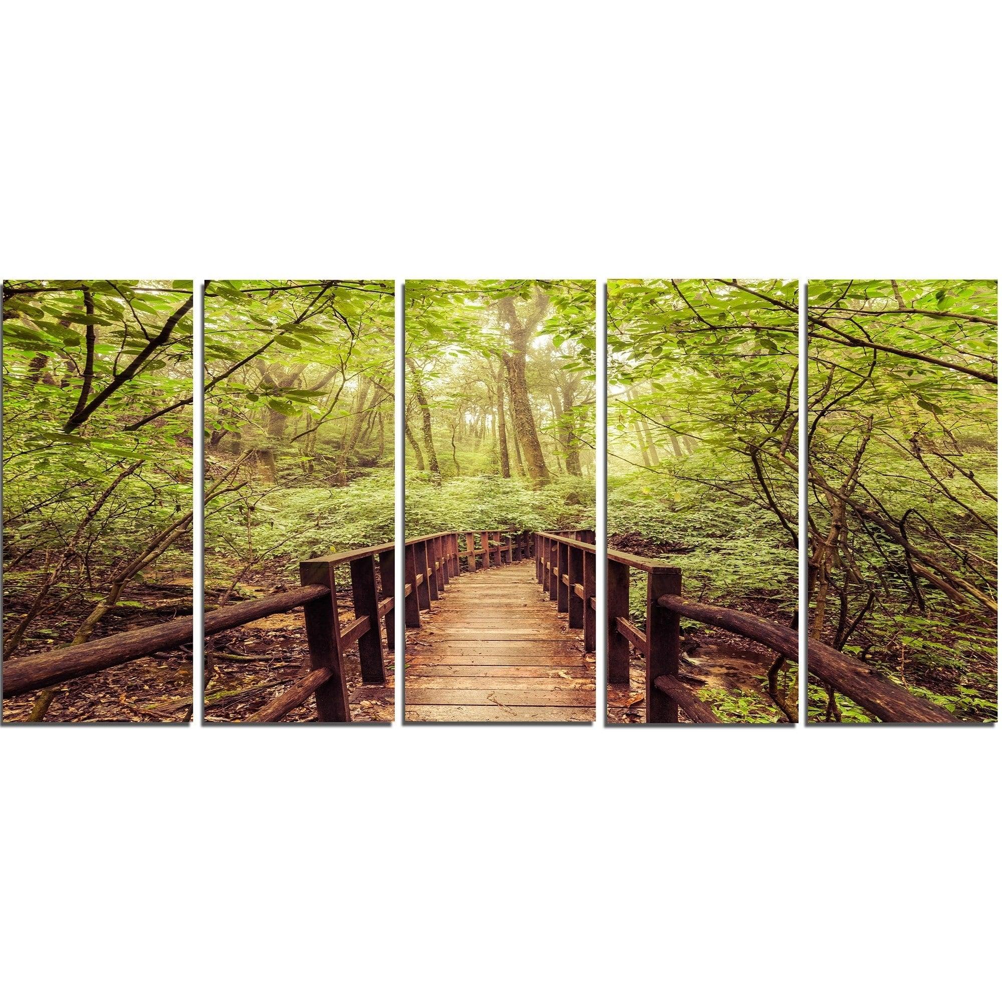 Designart \'Jungle in Vintage Style\' Landscape Photo Metal Wall Art ...