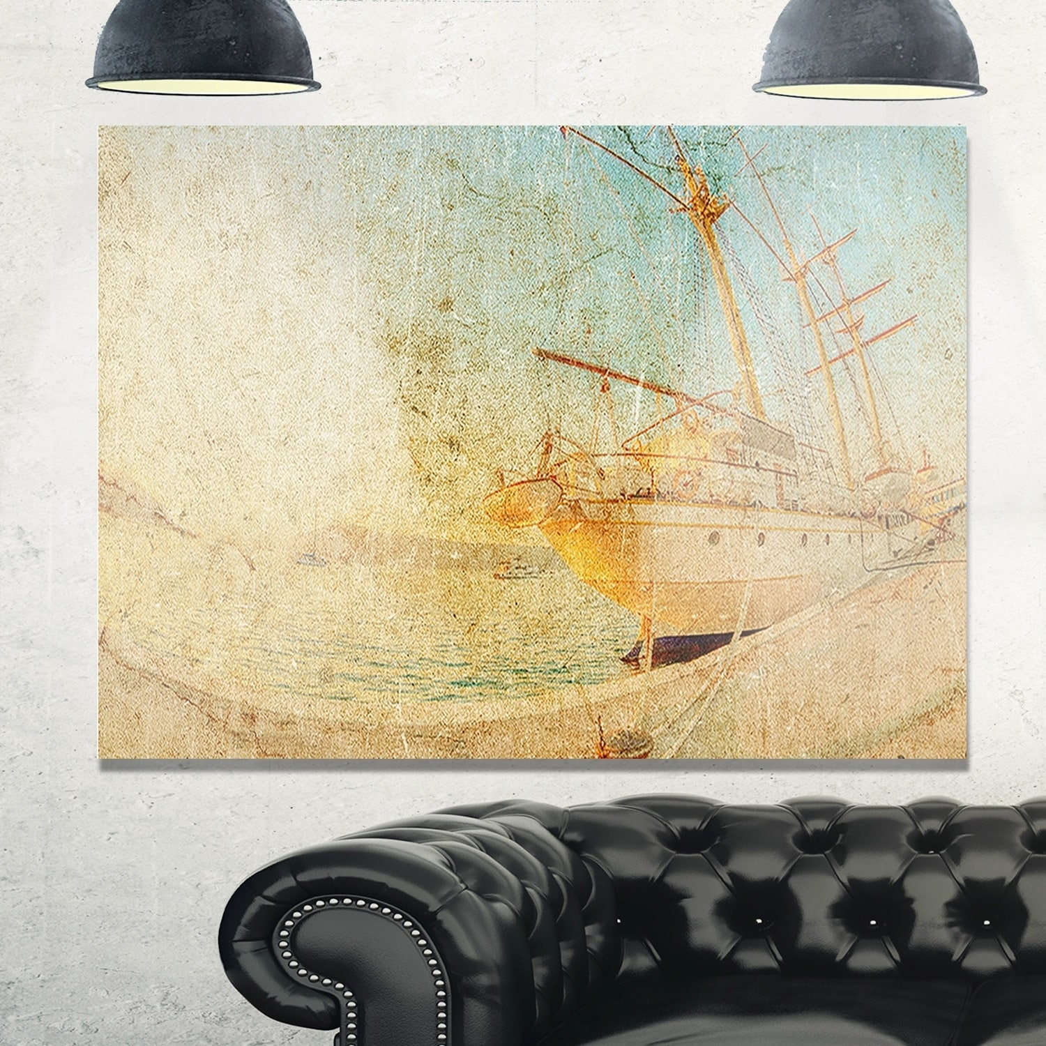 Old Sailing Ship in Sunlight - Extra Large Seascape Glossy Metal ...