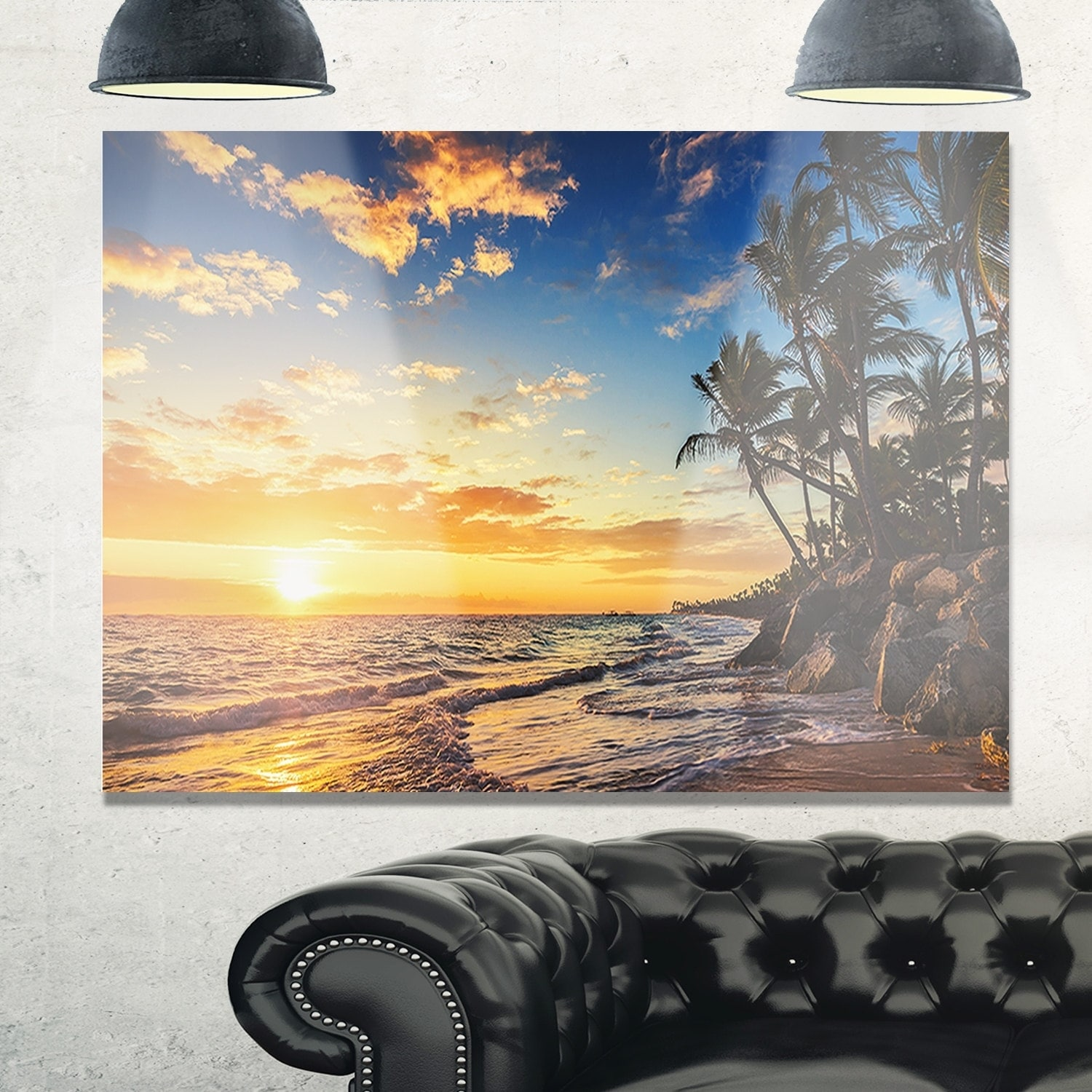 Paradise Tropical Island Beach with Palms - Extra Large Seascape ...