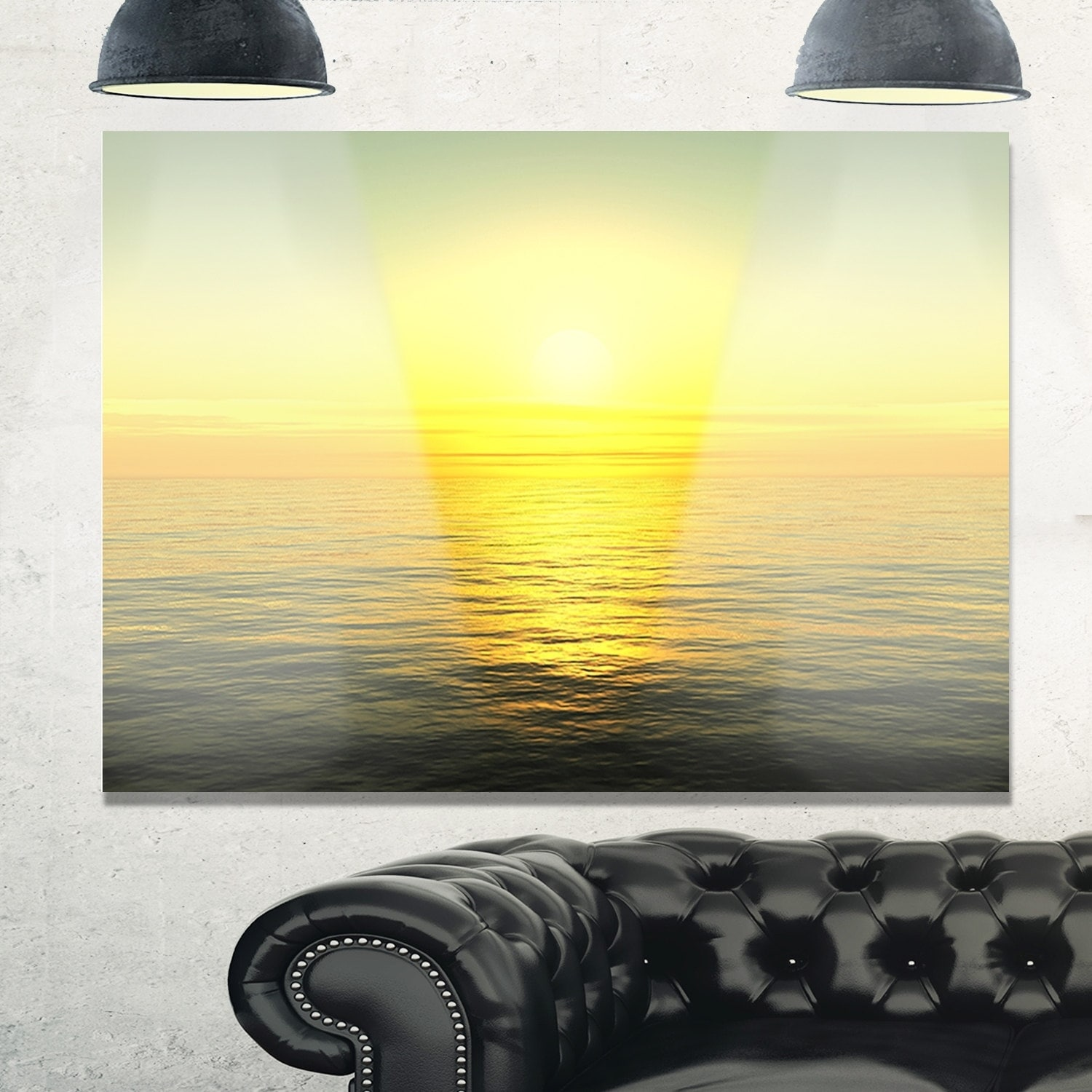 Brilliant Yellow Sunrise over Waters - Beach Glossy Metal Wall Art ...