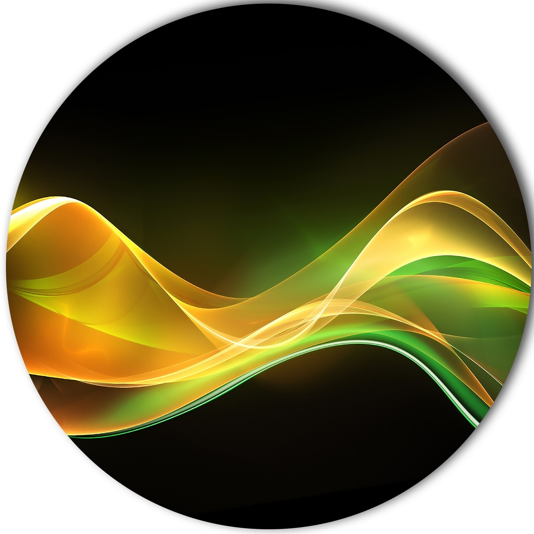 Designart \'3D Gold Green Wave Design\' Abstract Digital Art Large ...
