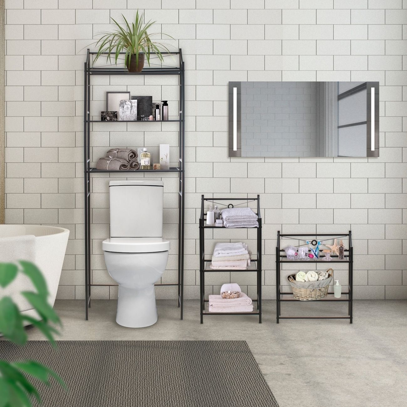 shop sorbus bathroom storage shelf freestanding shelves for bath rh overstock com bathroom free standing shelving units bathroom corner free standing shelves