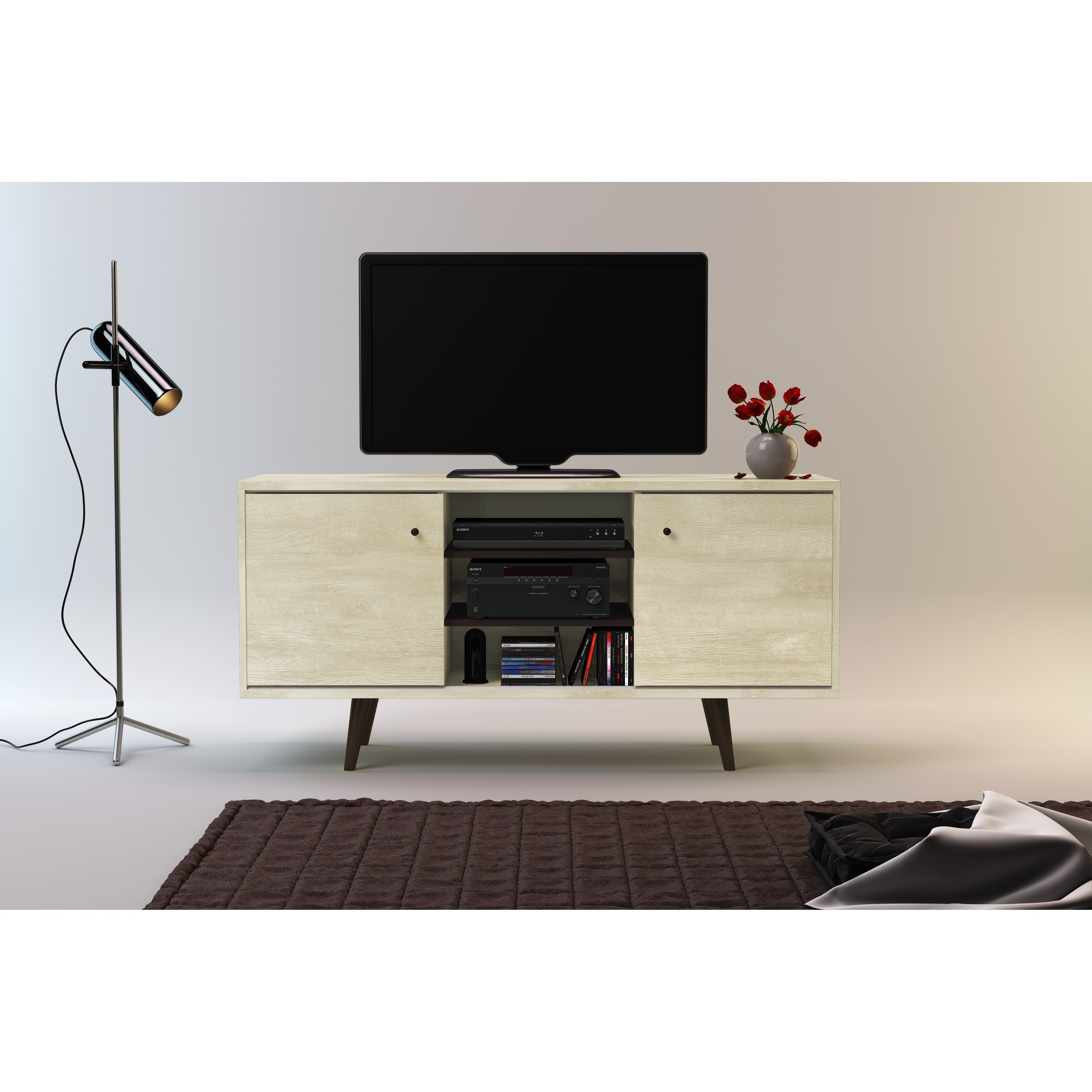 Strick & Bolton Waller Mid-Century 3-Shelf TV Stand - Free Shipping ...