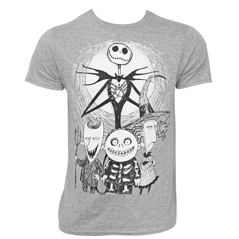 Shop Nightmare Before Christmas Group Grey Tee Shirt - Free Shipping ...