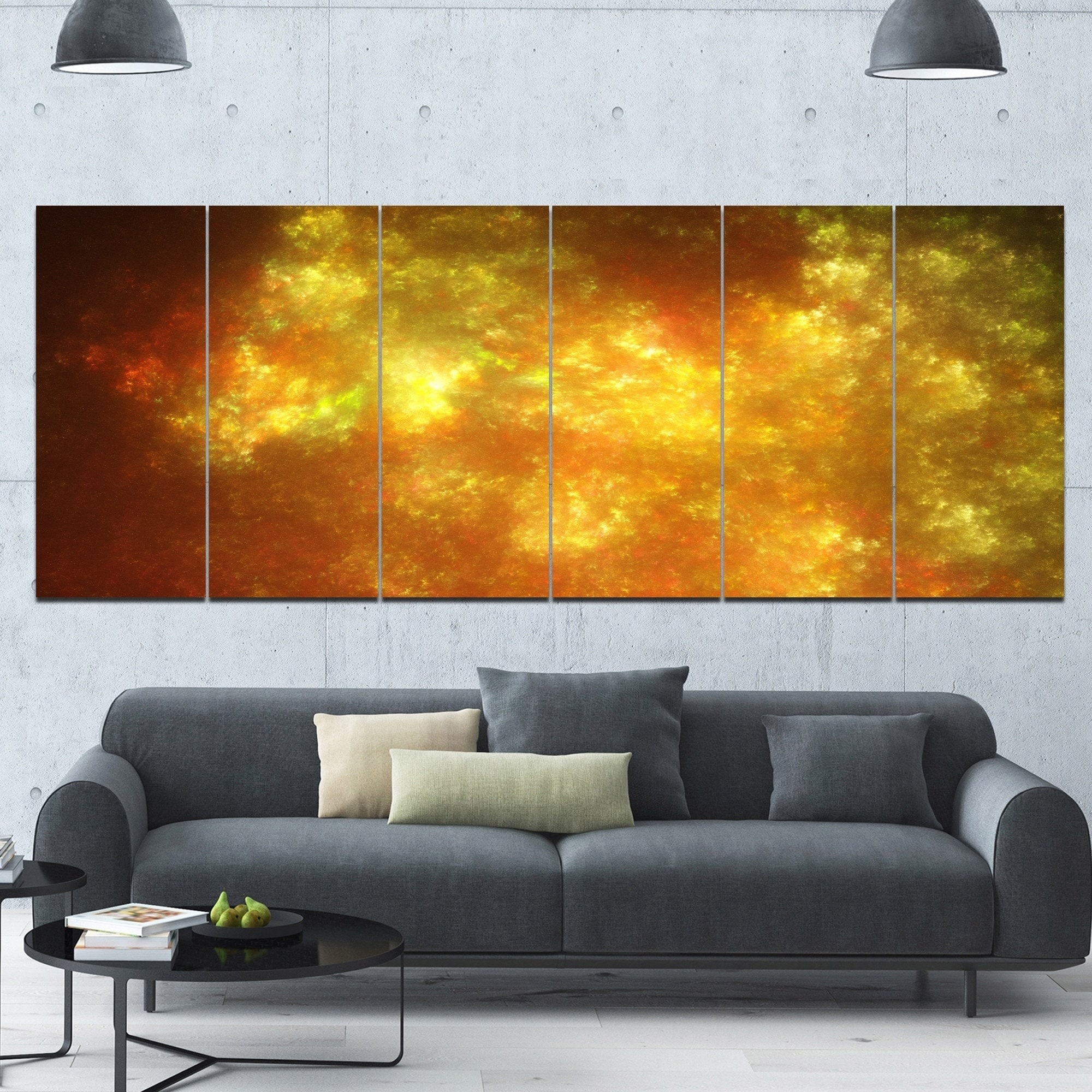 Shop Designart \'Blur Golden Sky with Stars\' Abstract Artwork on ...