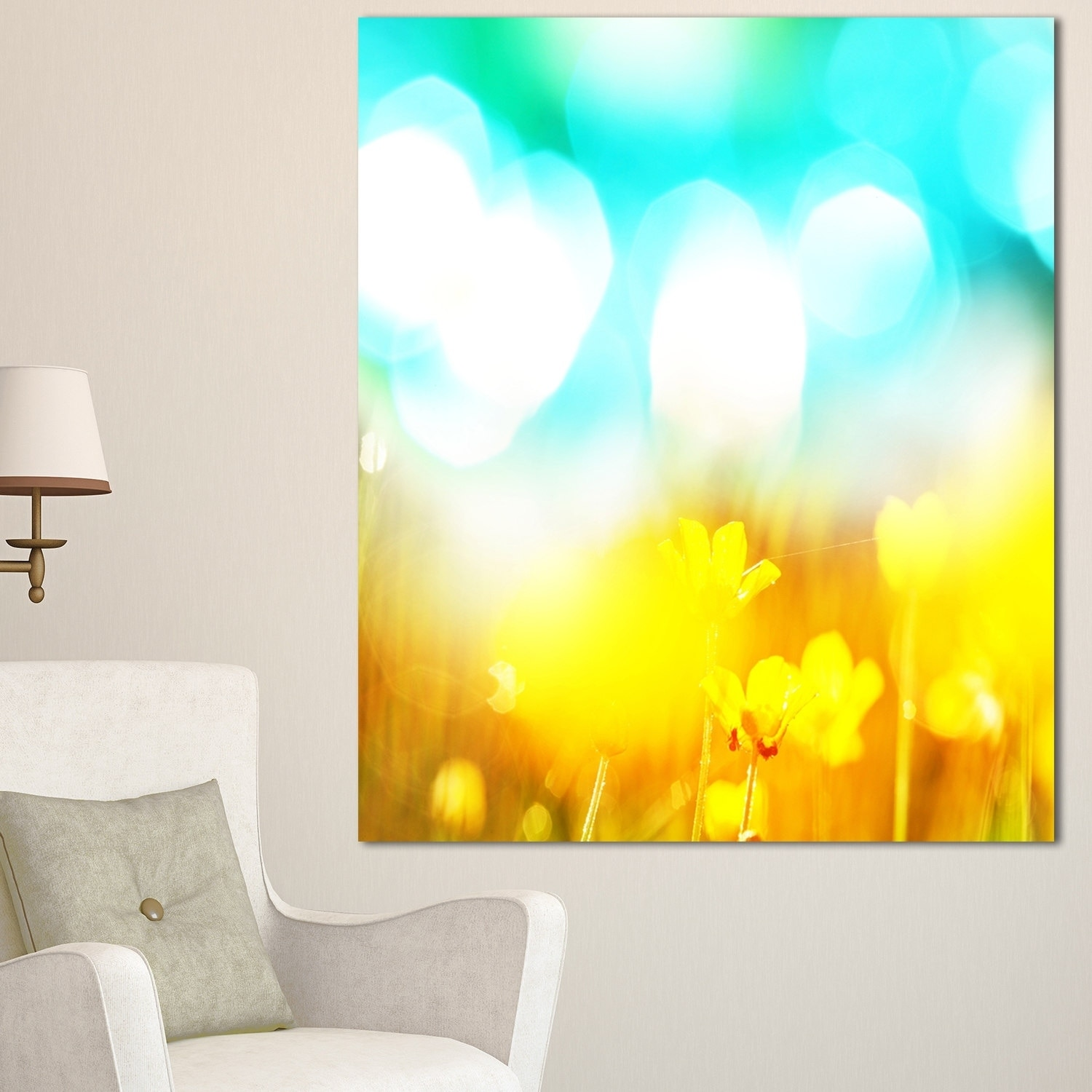 Yellow Flowers on Blue Background - Large Flower Wall Artwork ...