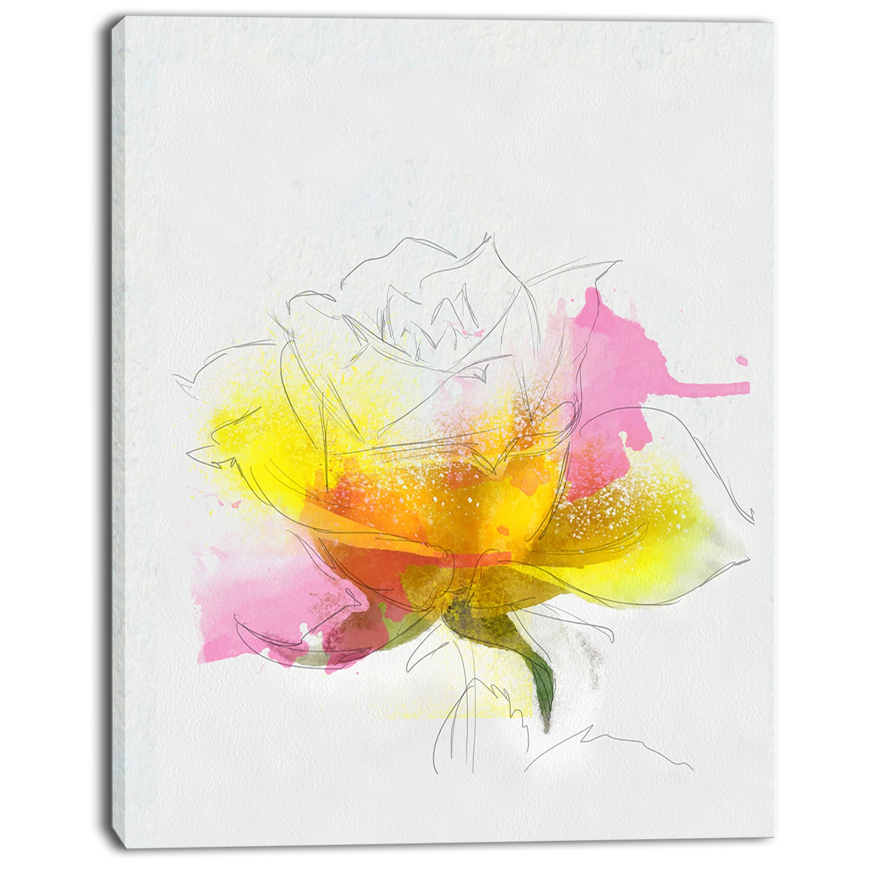 Designart \'Yellow Pink Rose Sketch Watercolor\' Modern Floral Canvas ...