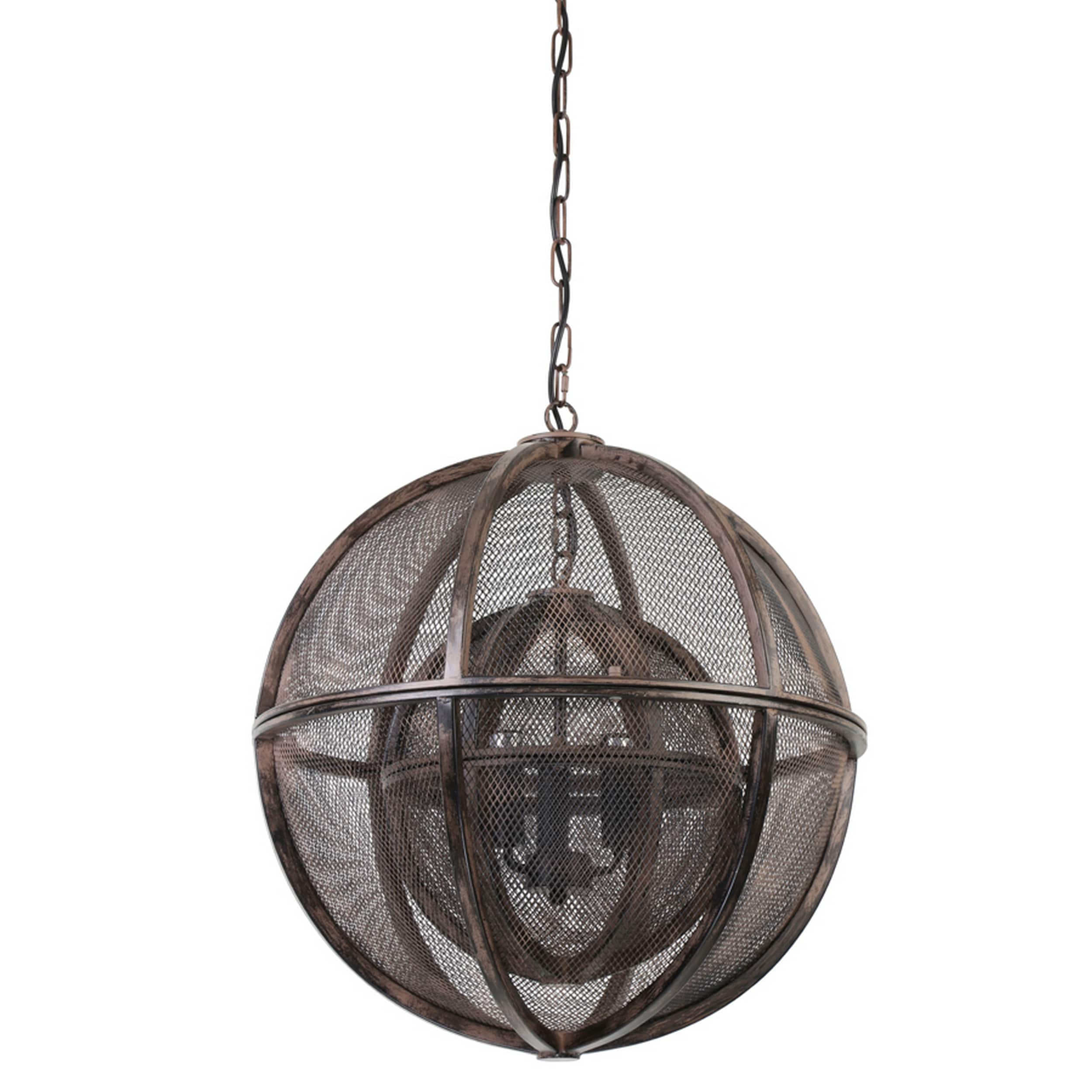 Urban Designs Querida 21.5-Inch Rust Double Sphere Hanging Pendant ...