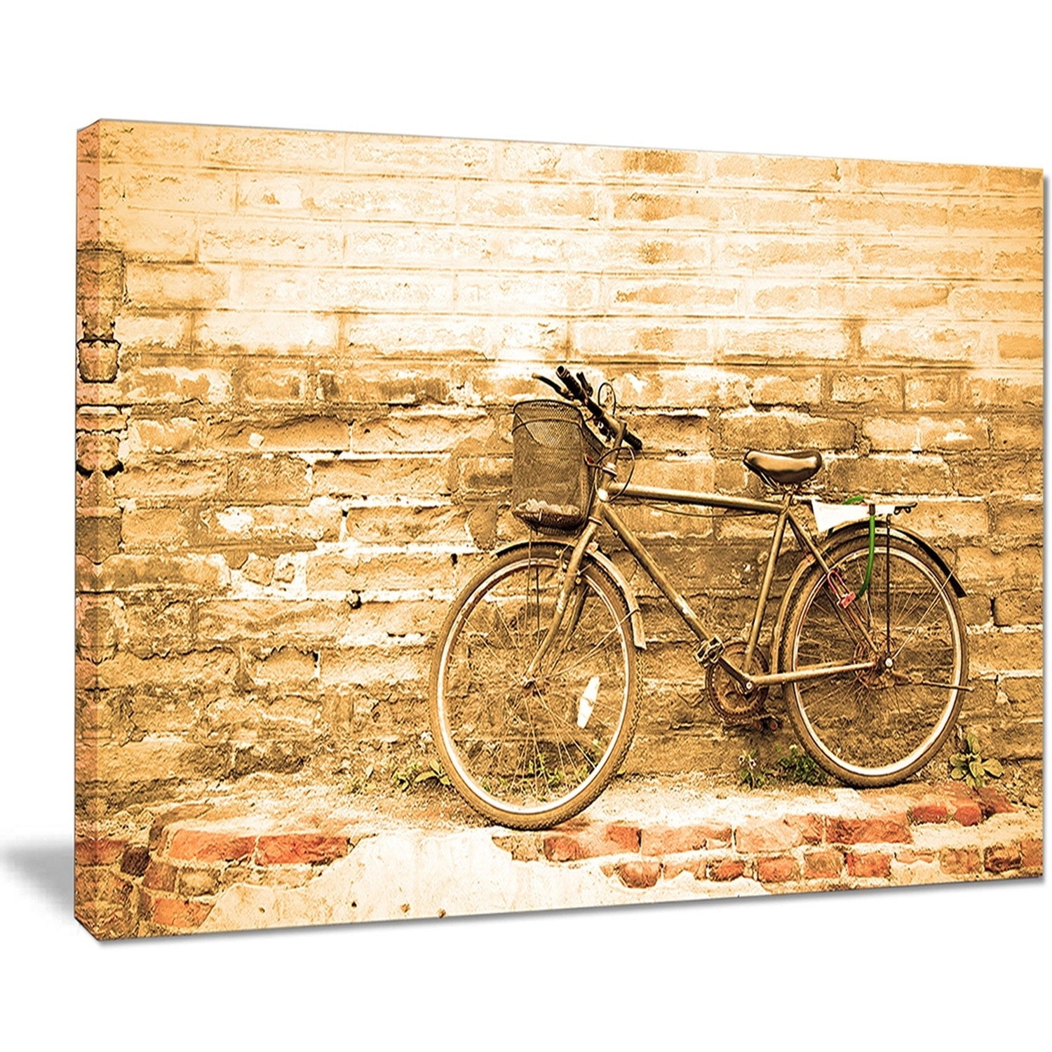 Vintage Bicycle against Brown Wall - Landscape Canvas Print - Free ...
