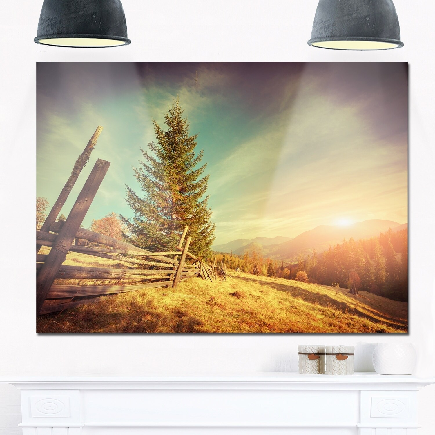 Shop Retro Style Autumn in Mountains - Landscape Photo Glossy Metal ...