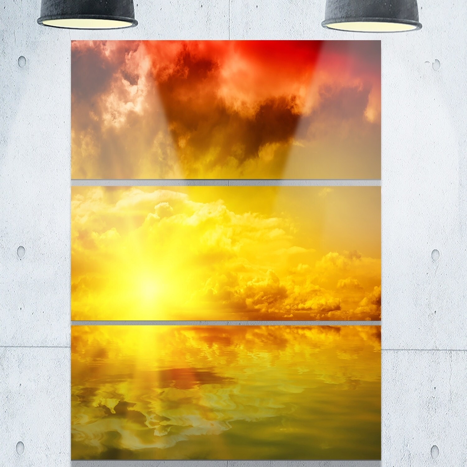 Red Dramatic Sky with Yellow Sun - Landscape Glossy Metal Wall Art ...