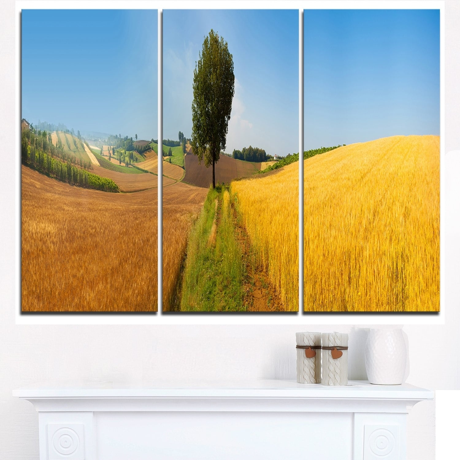 Shop Tuscany Wheat Field Hill Panorama - Landscape Glossy Metal Wall ...