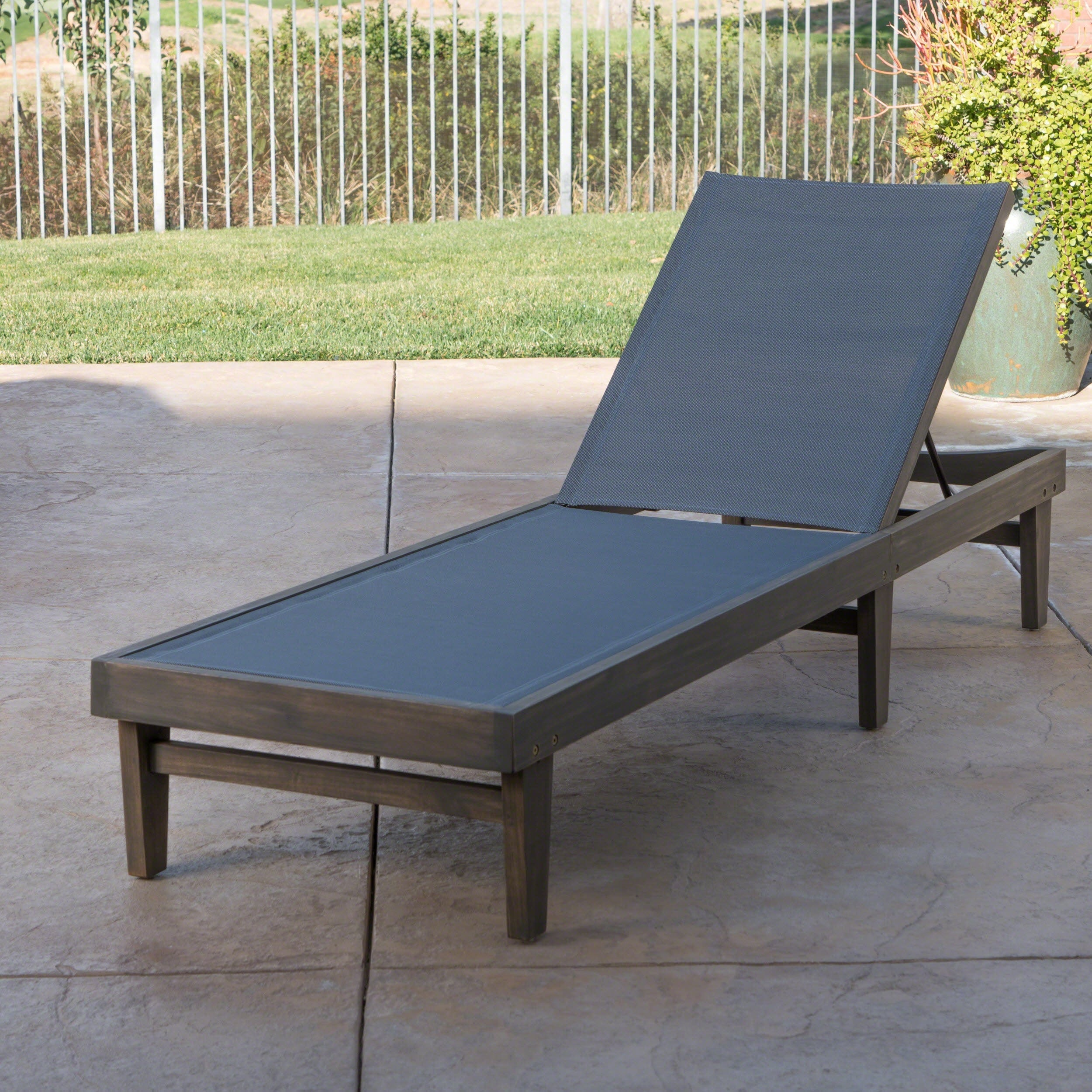 Summerland Outdoor Acacia Wood Mesh Chaise Lounge By Christopher Knight Home On Free Shipping Today 19798615