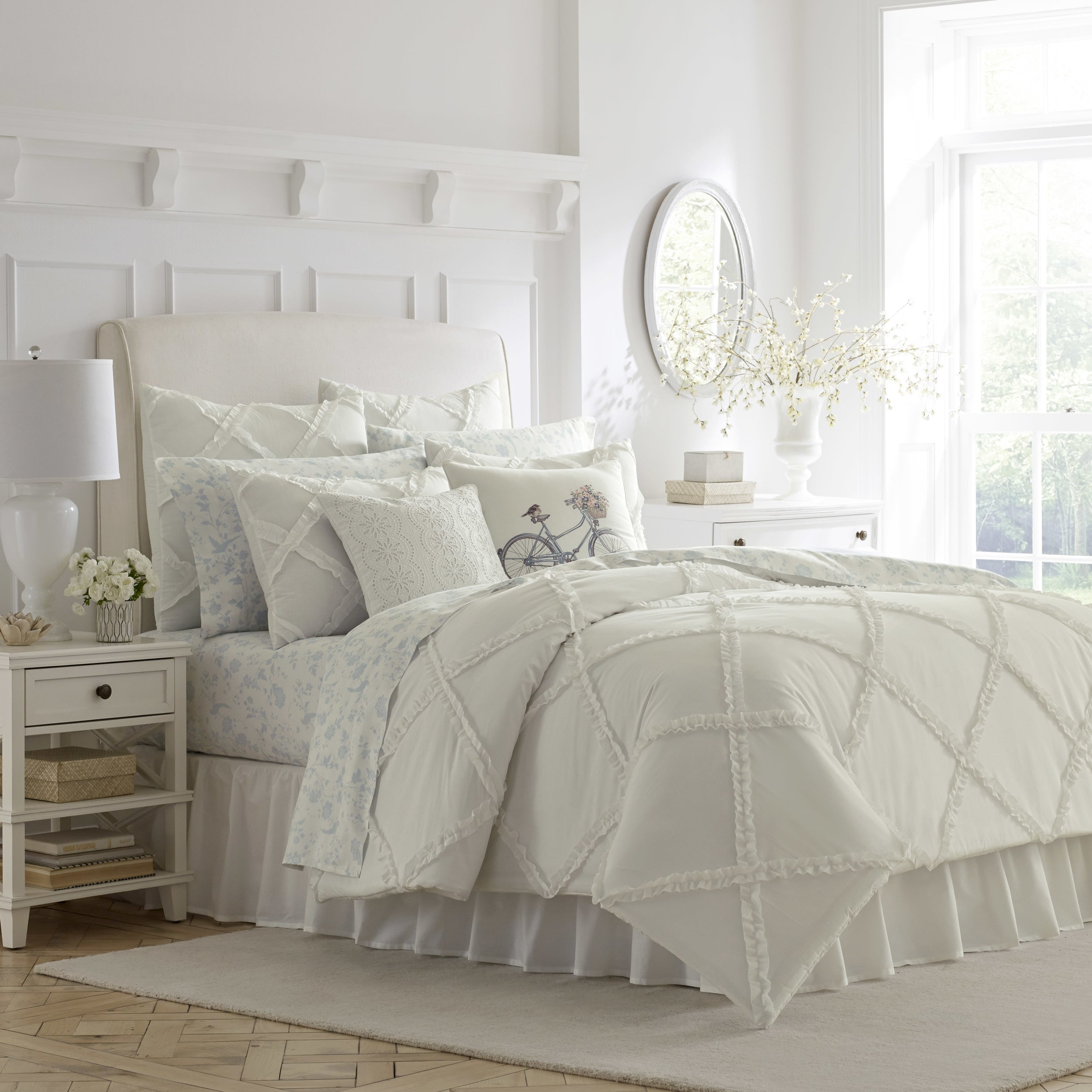 for set ideas sets bedroom fabulous white design comforter pearl ruffle with interior romantic anastacia home