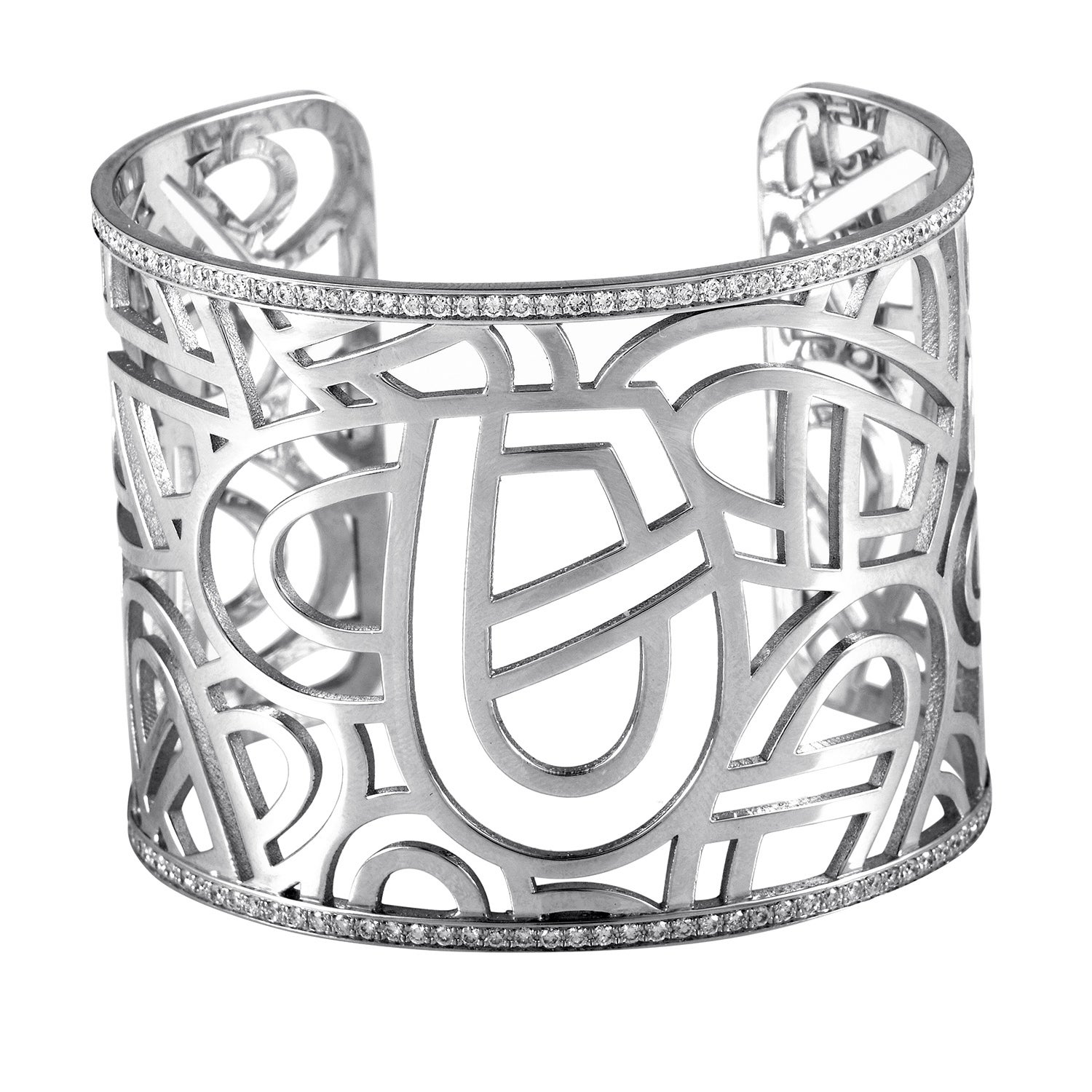 Poiray Wire Heart Framework Women\'s White Gold Diamond Cuff Bracelet ...