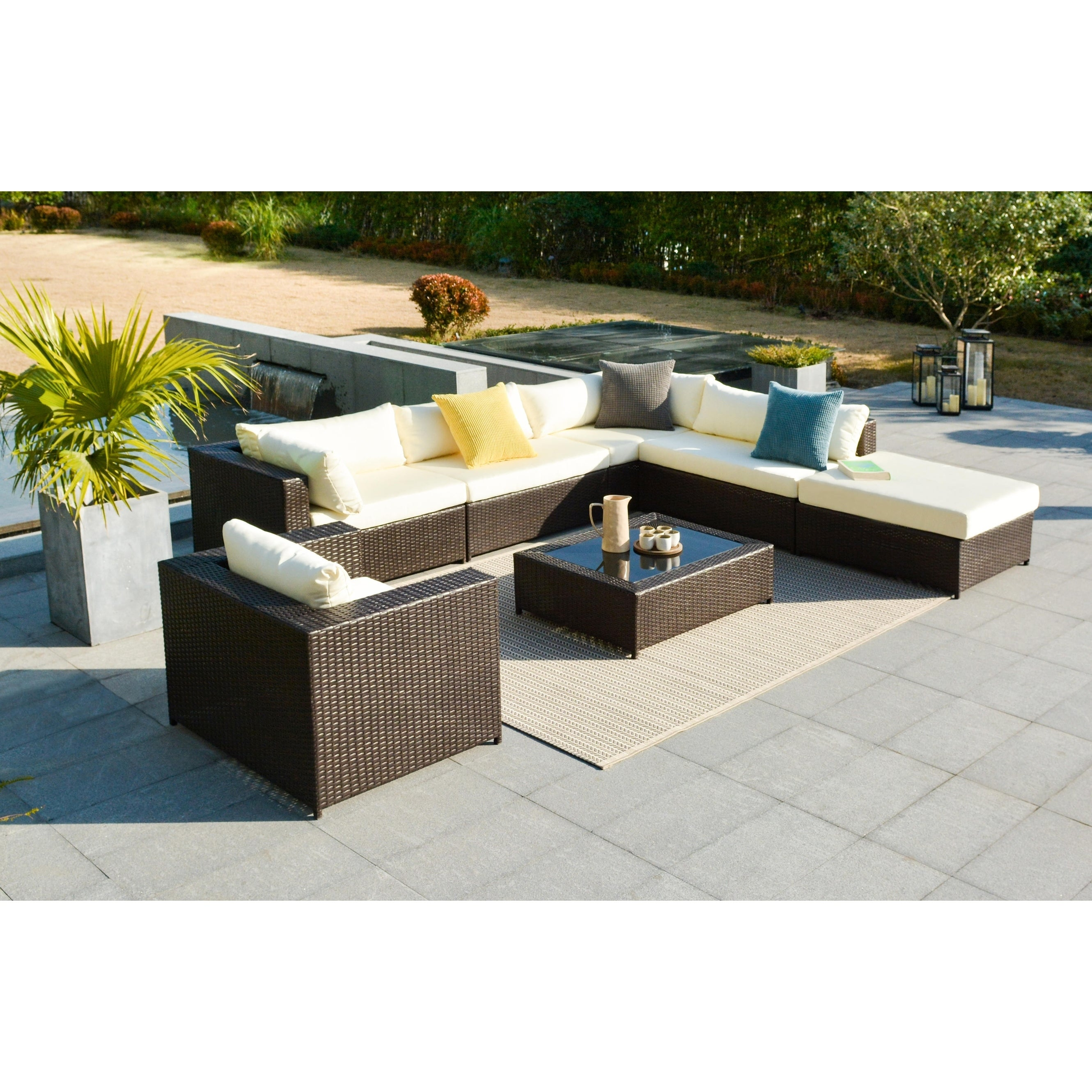 Havenside Home Caladesi 7 Piece Resin Wicker Outdoor Sectional Sofa Set