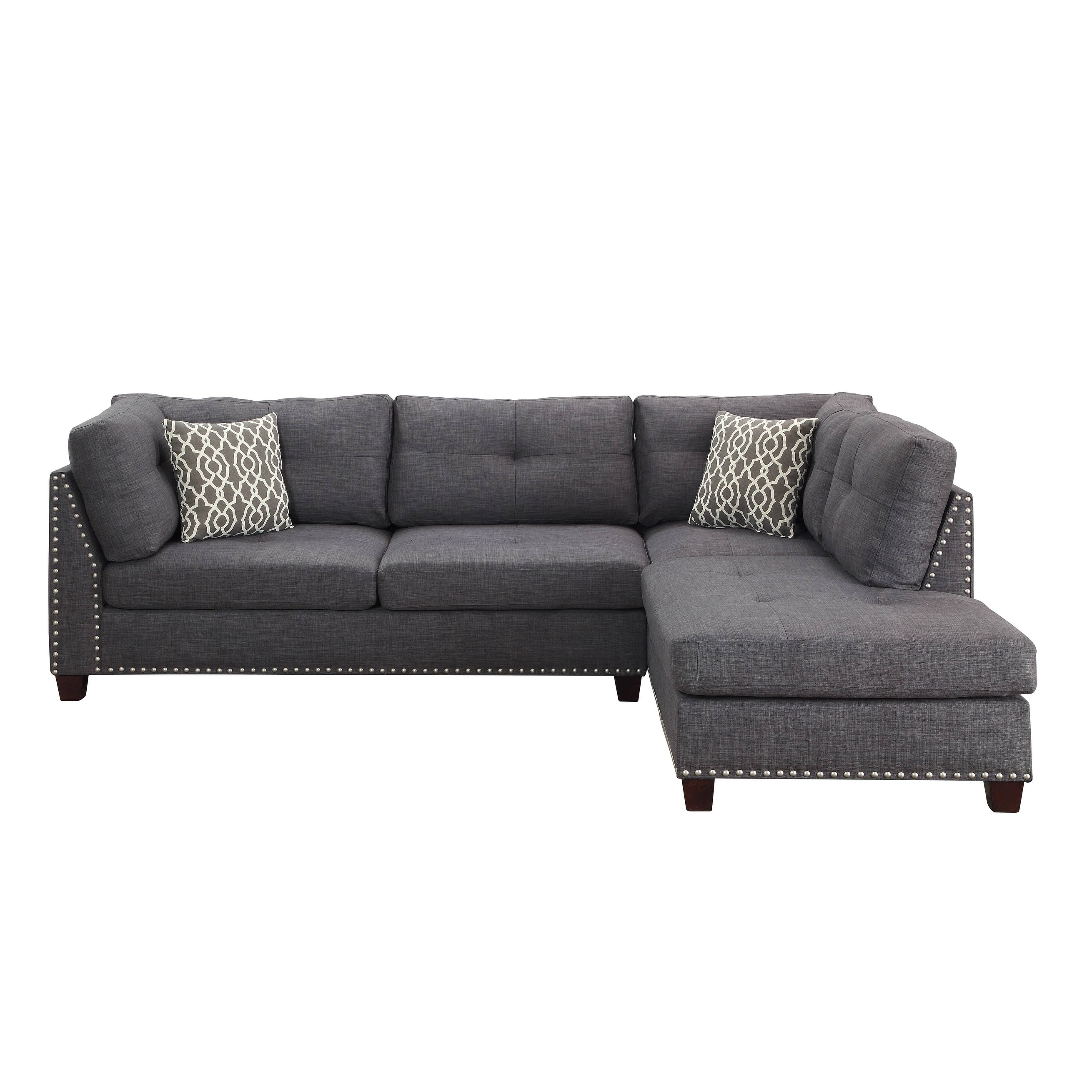 Shop Acme Laurissa L Shape Sectional Sofa With Ottoman In Charcoal