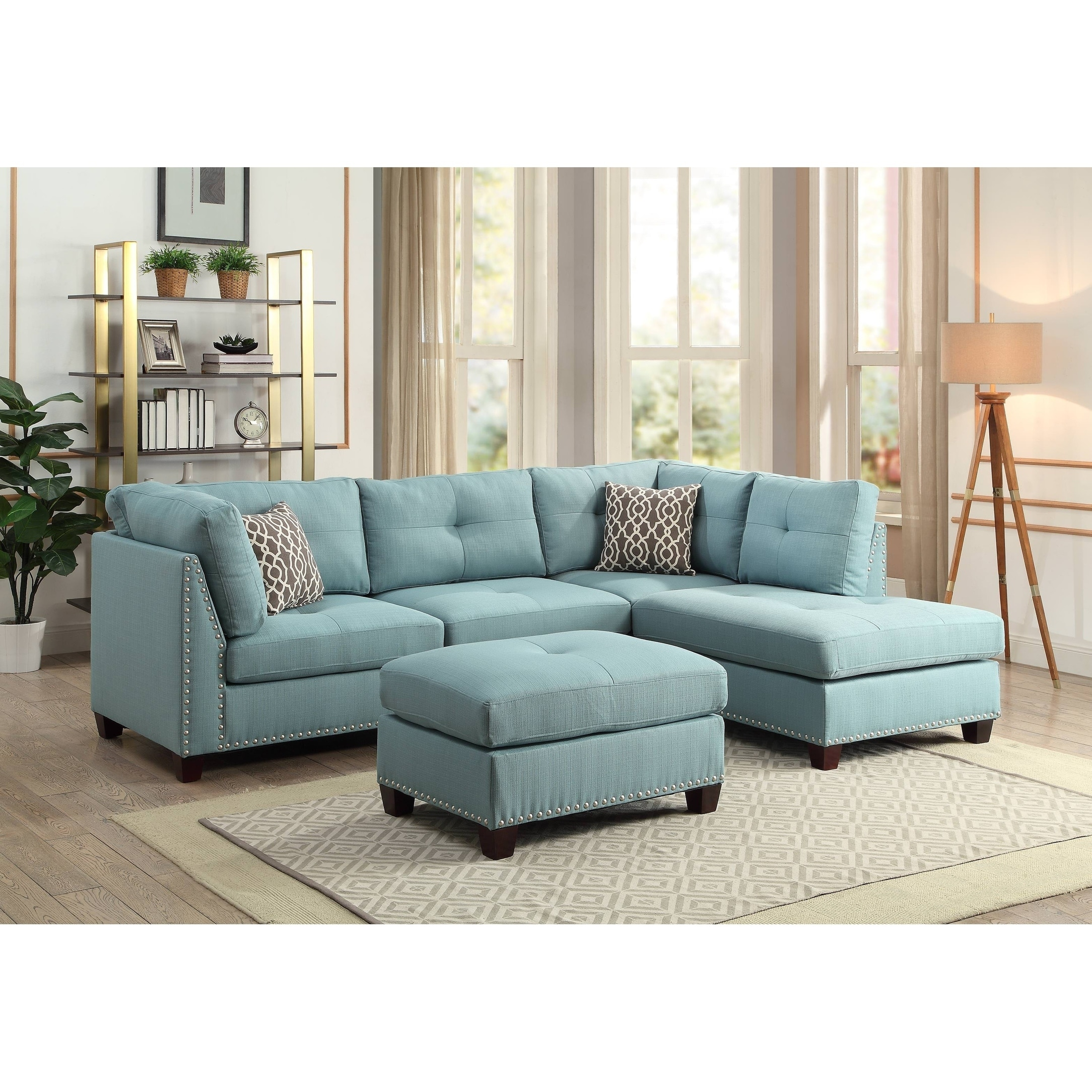 Exceptionnel Shop ACME Laurissa L Shape Sectional Sofa With Ottoman In Light Teal Linen    Free Shipping Today   Overstock.com   19807656