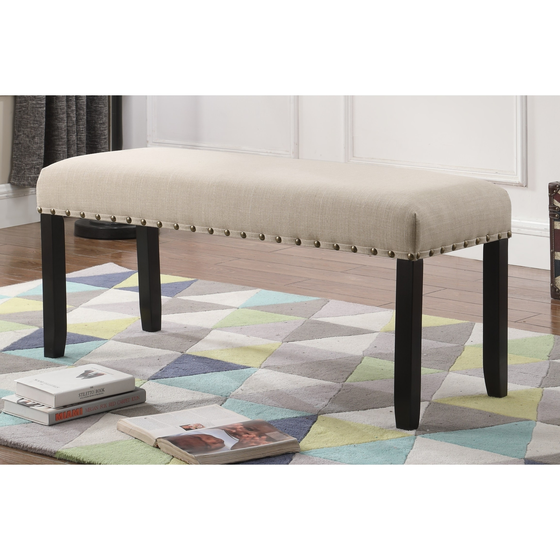 Shop Biony Fabric Dining Bench With Nailhead Trim   Free Shipping Today    Overstock.com   19807994