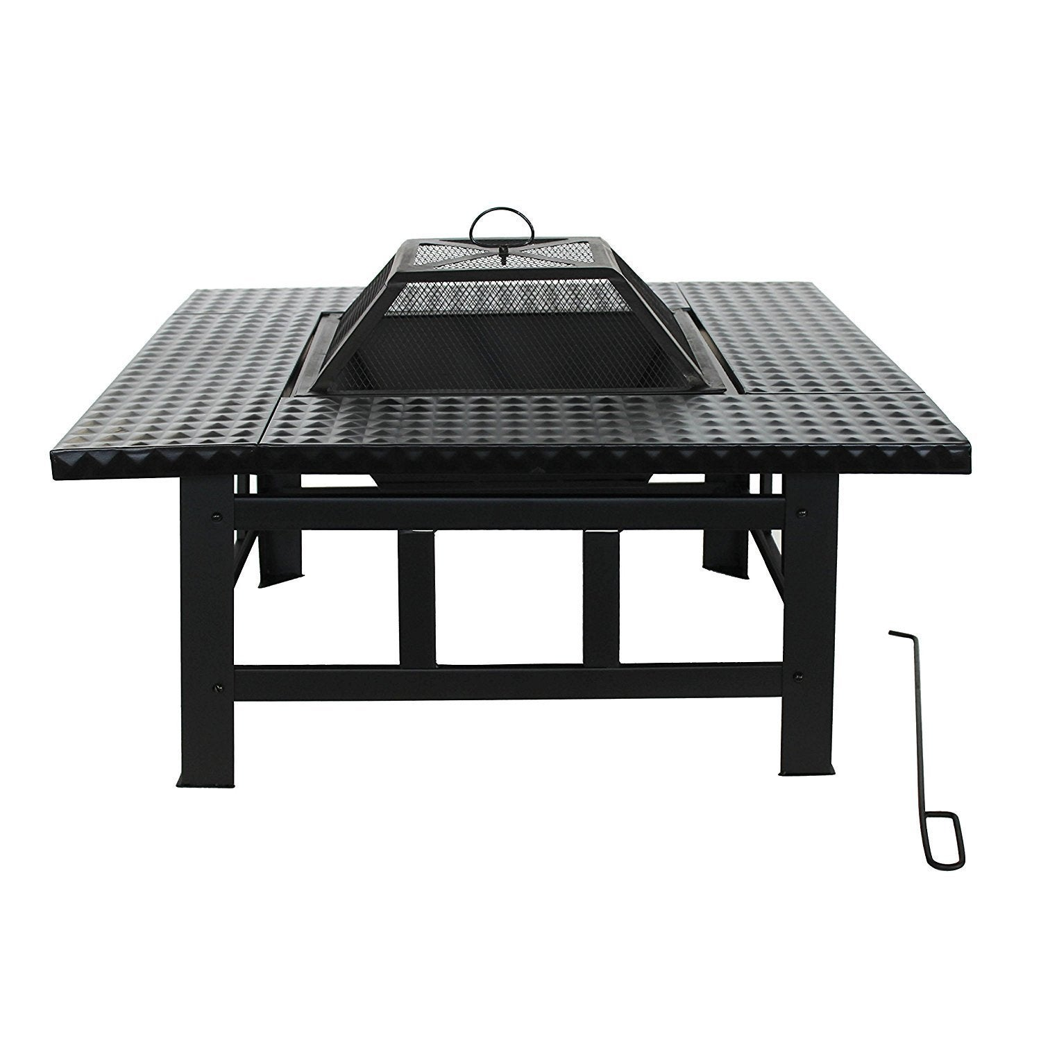 Incroyable ALEKO Steel Table Top Black Fire Pit Kit With Lid And Poker