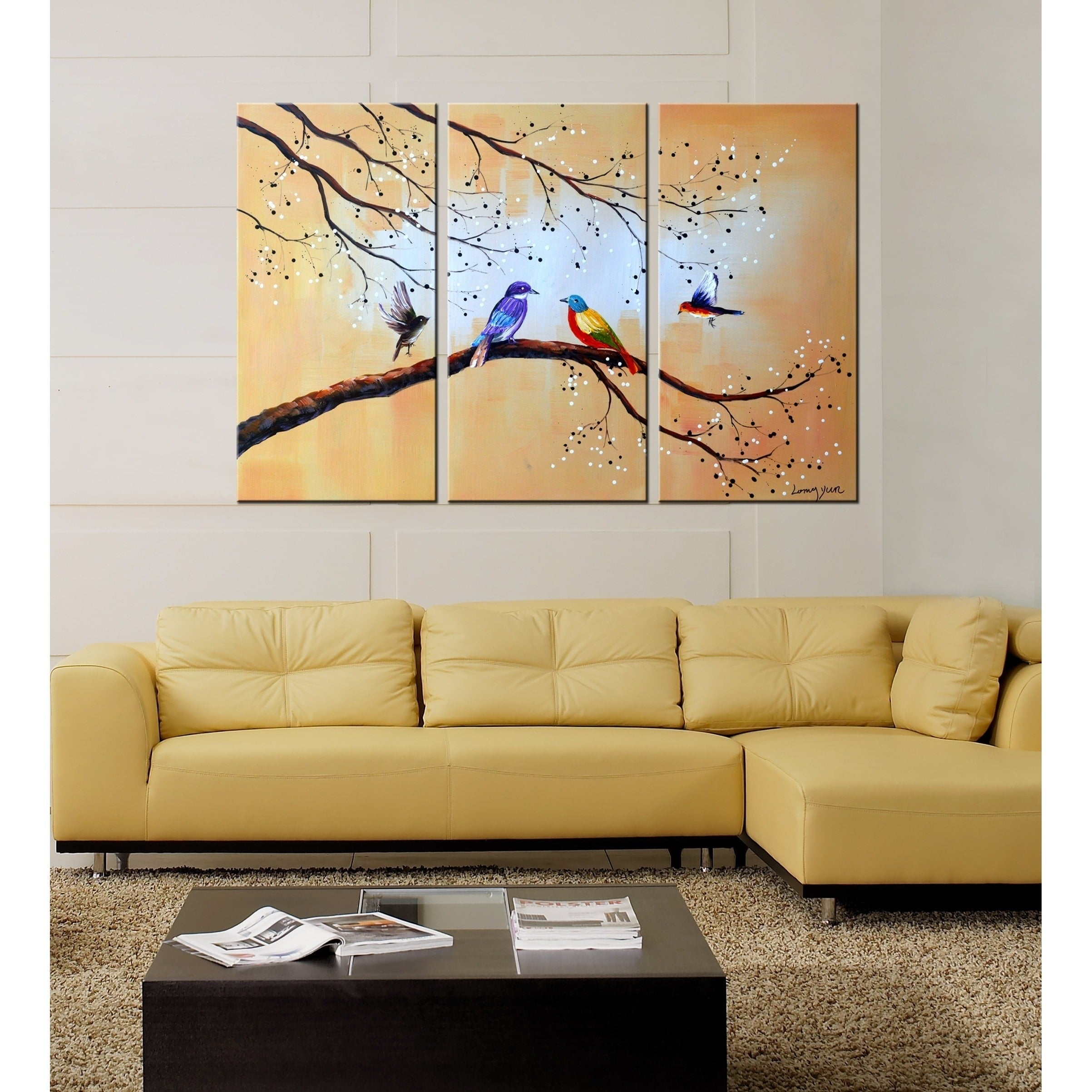 Shop Colorful Birds\' 3-piece Hand-painted Oil on Canvas Art Canvas ...