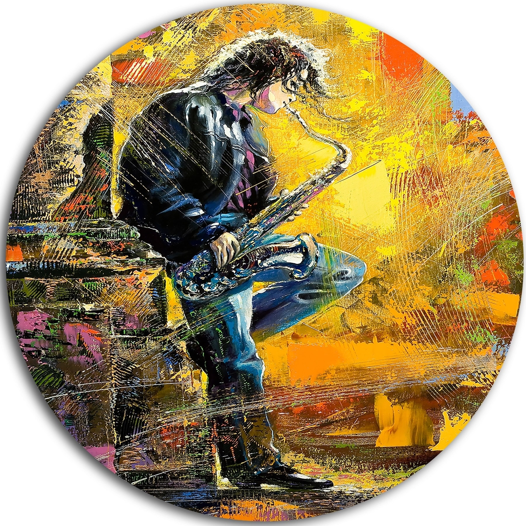 Designart \'Man With Saxophone\' Contemporary Glossy Metal Wall Art ...