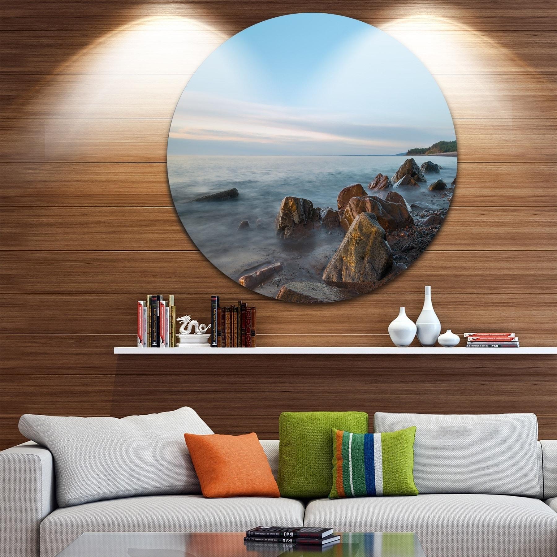 Shop designart cape breton beach nova scotia canada modern seascape large disc metal wall art free shipping on orders over 45 overstock com