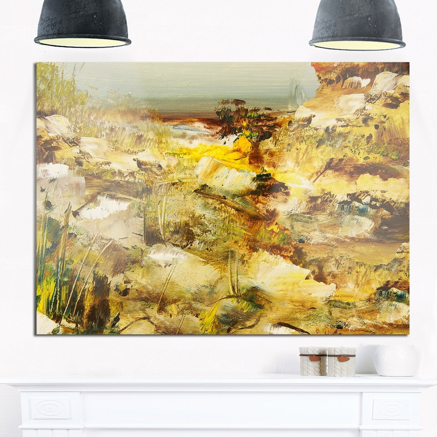 Yellow Stones Heavily Textured - Landscape Painting Glossy Metal ...