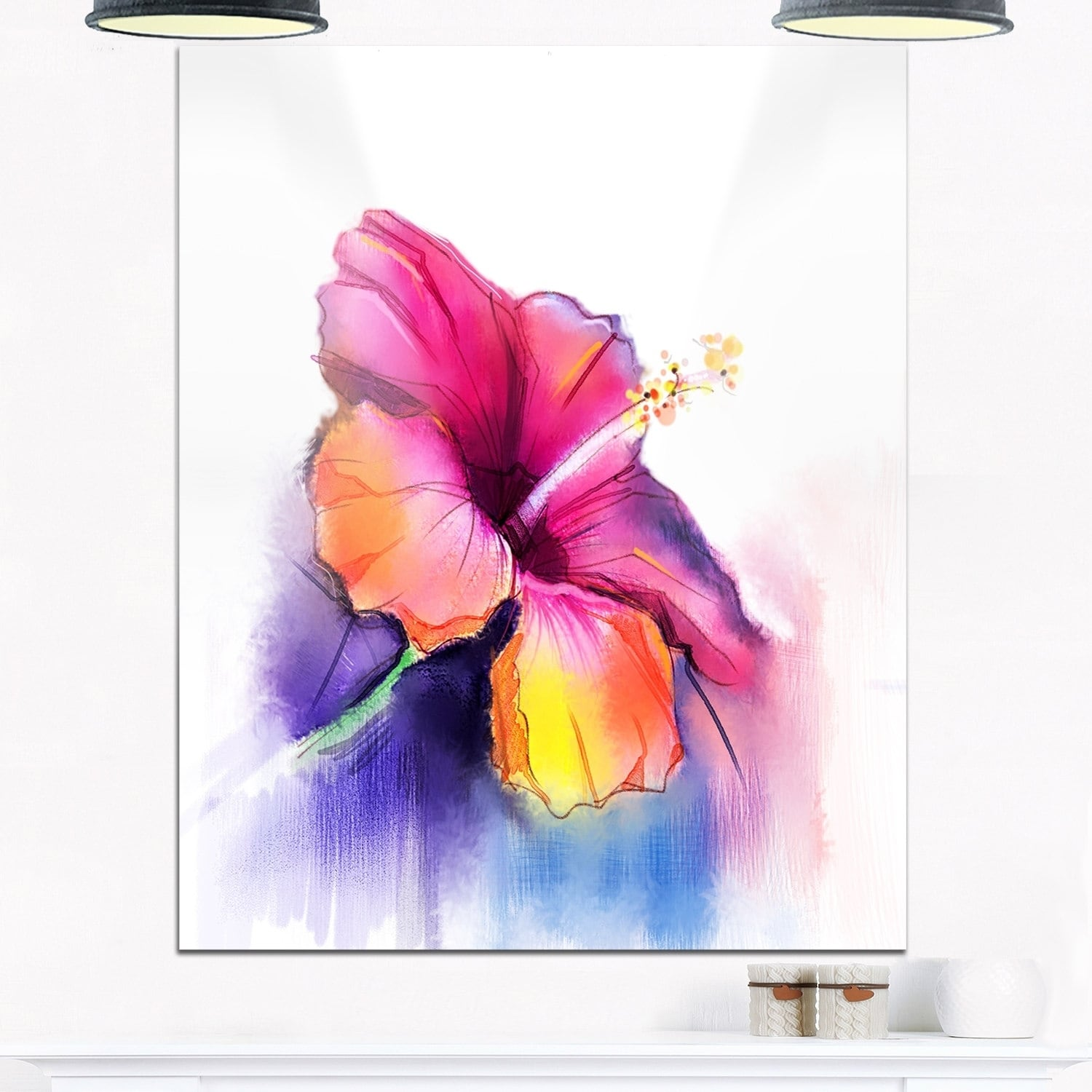 Red yellow hibiscus flower in blue large flower glossy metal wall red yellow hibiscus flower in blue large flower glossy metal wall art free shipping today overstock 25748060 izmirmasajfo Image collections