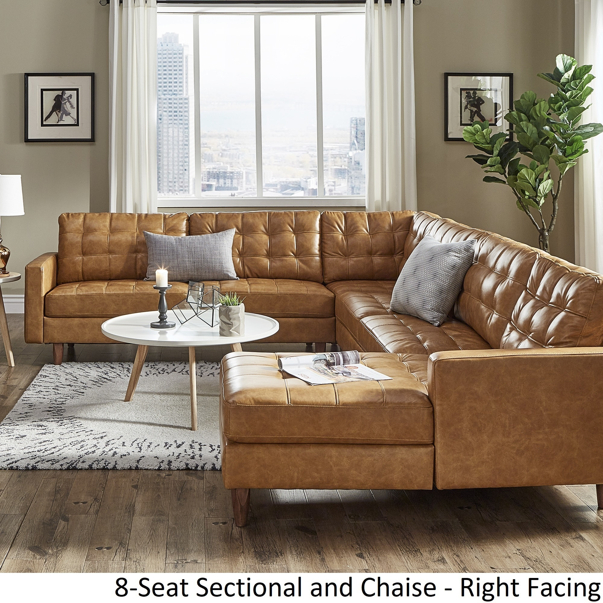 Odin Caramel Leather Gel L-Shape Sectional with Chaise by iNSPIRE Q Modern  - Free Shipping Today - Overstock.com - 25754214