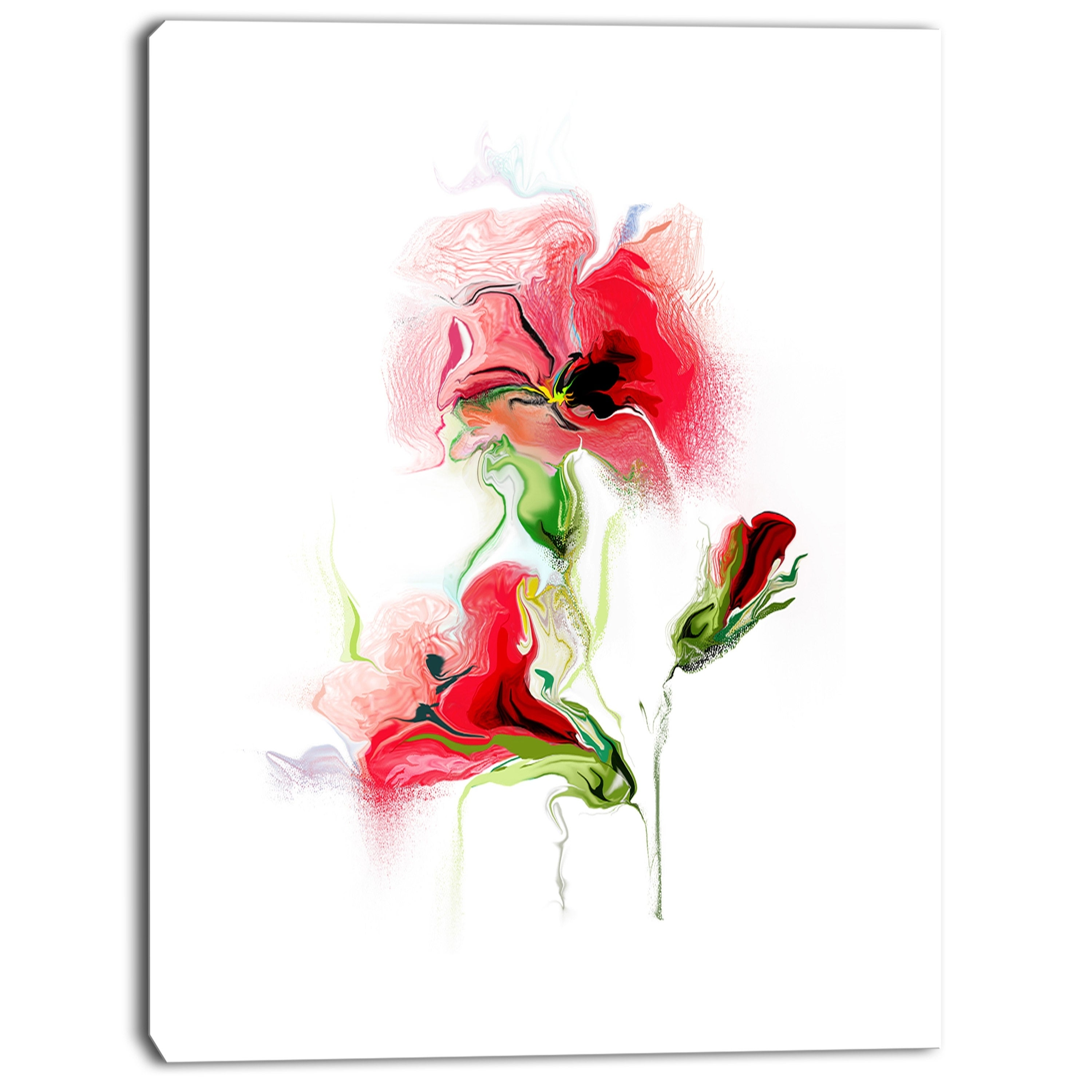 Designart Red Floral Watercolor Illustration Large Animal Canvas Wall Art Print