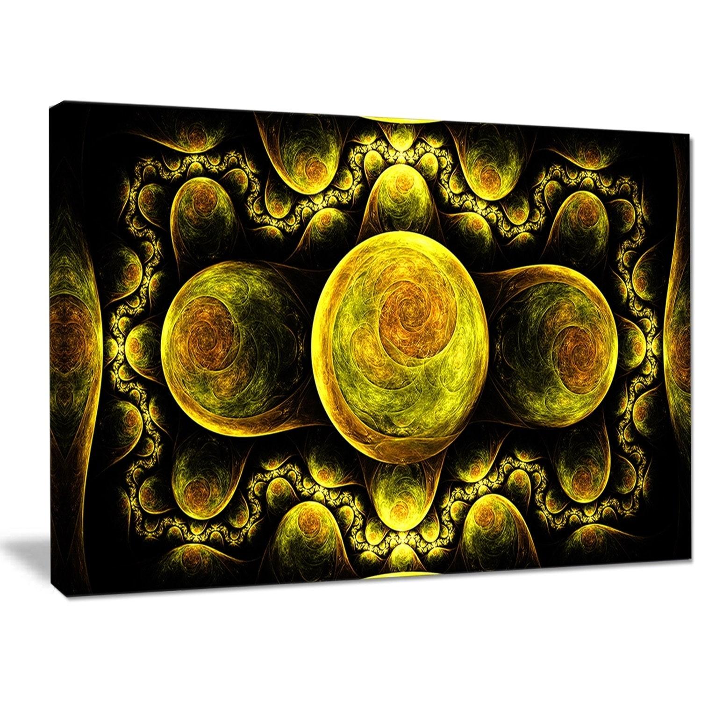 Shop Designart \'Yellow Exotic Fractal Pattern\' Abstract Art on ...
