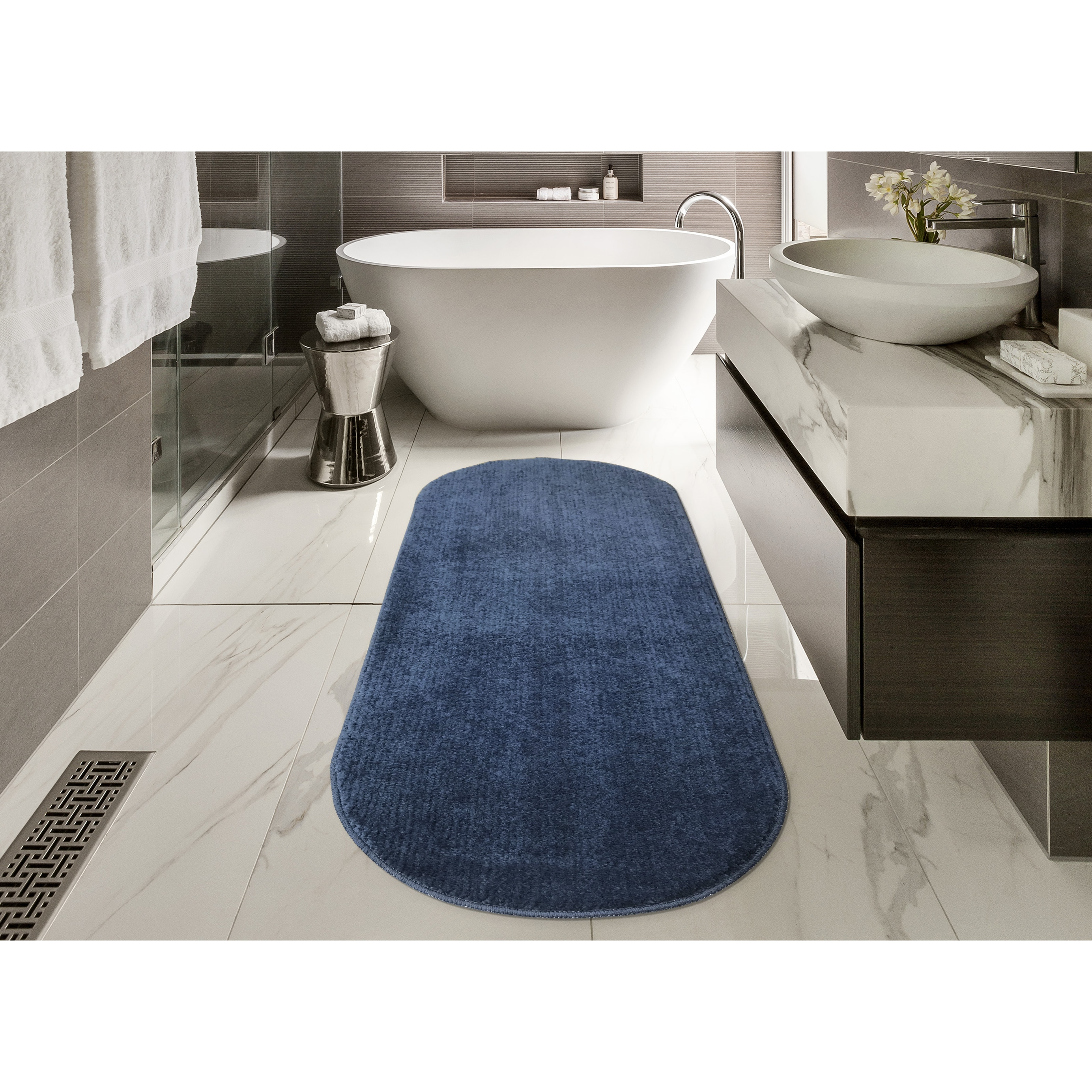 Shop Ottomanson Softy Collection Solid Color Kitchen/Bathroom Oval ...