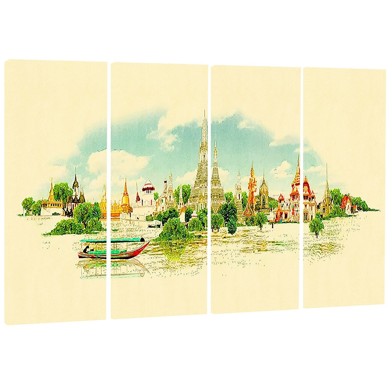 Designart \'Bangkok Panoramic View\' Cityscape Watercolor Canvas Wall ...
