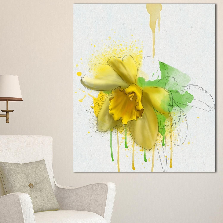 Shop Designart \'Yellow Narcissus Flower Watercolor\' Modern Floral ...